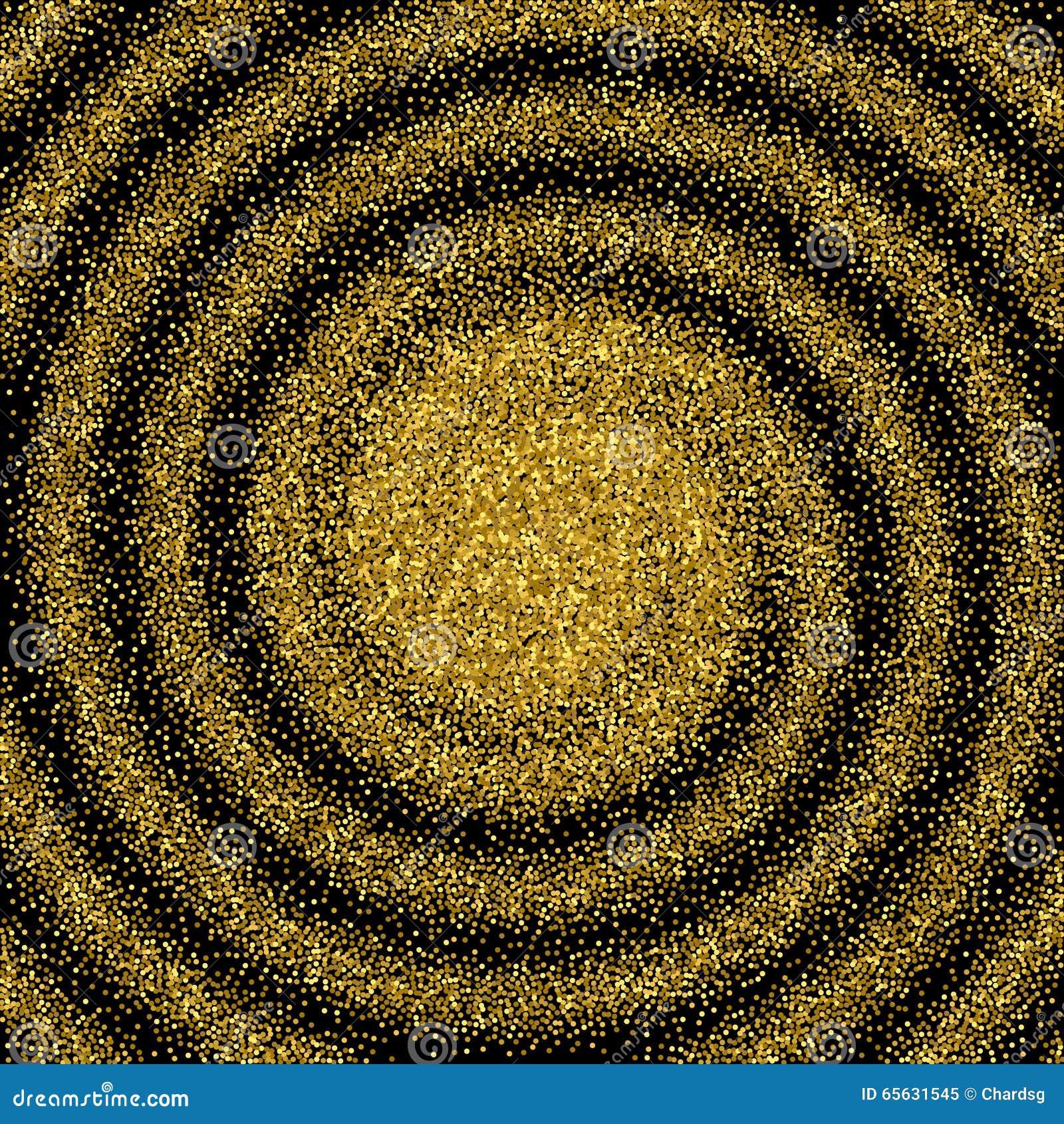 Scintillement vert Remous abstrait Fond de la poussière d or sur le noir