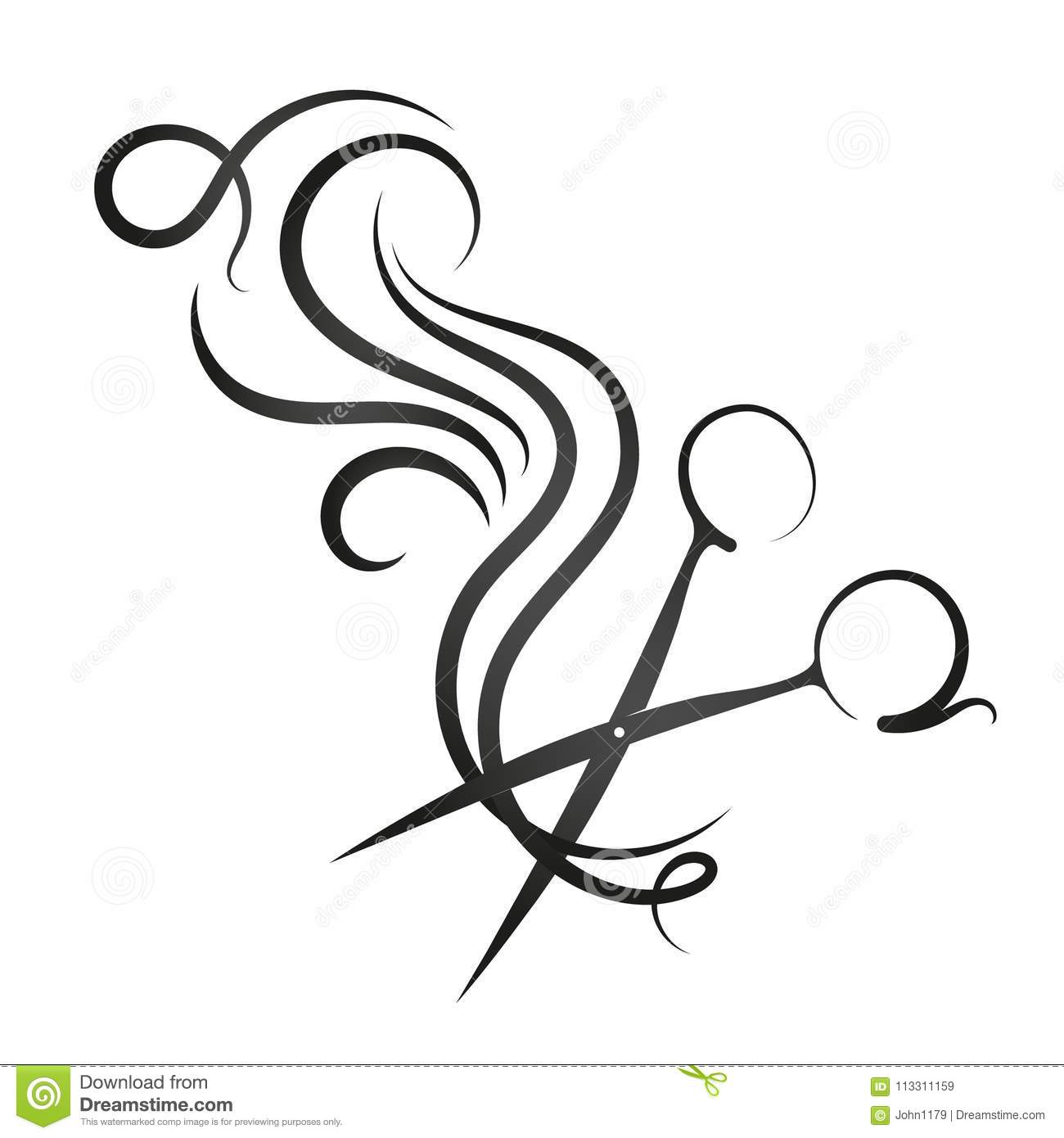 Scissors And Hair Curl Stock Vector Illustration Of Icon 113311159