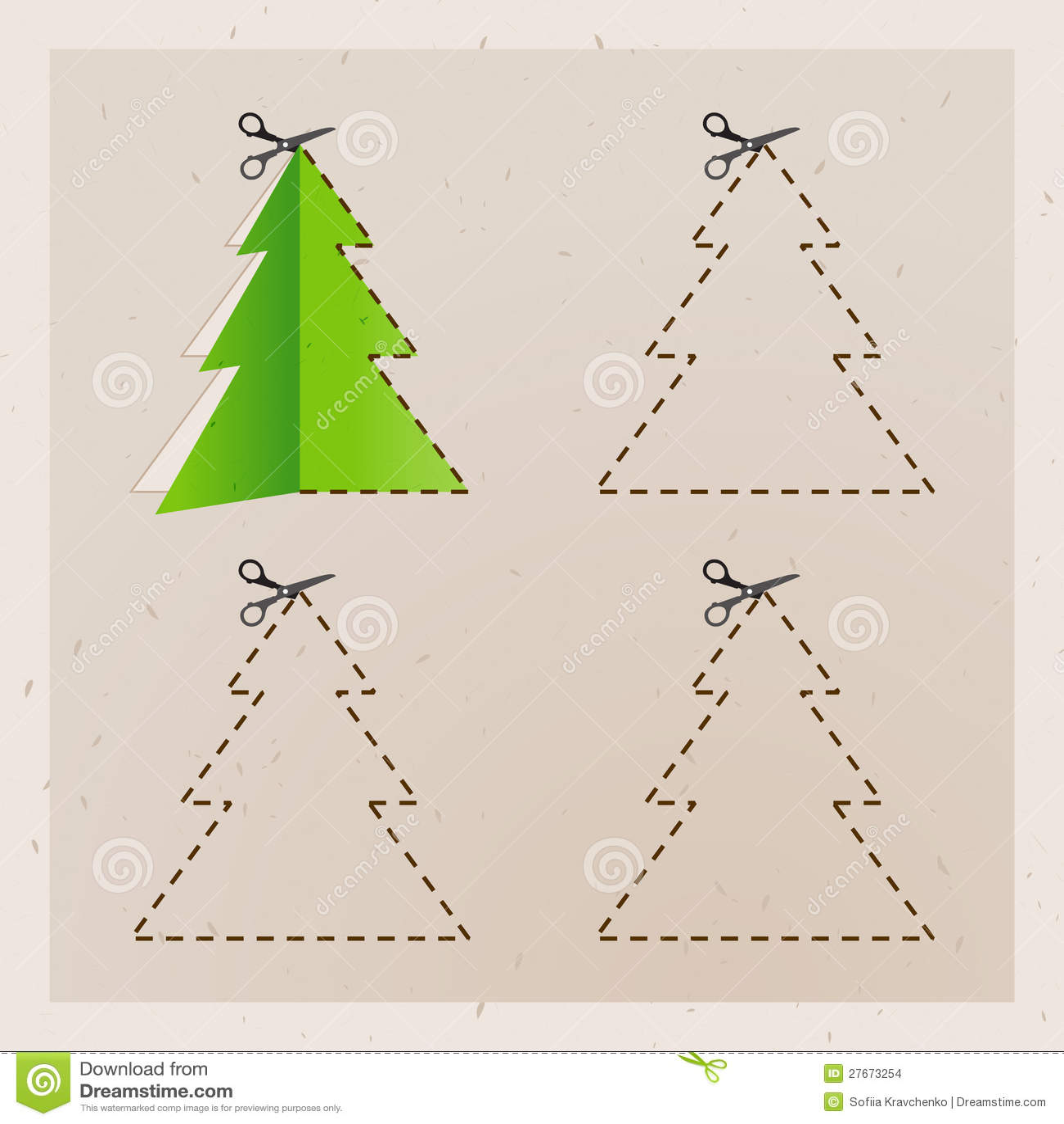 Scissors Cut Christmas Tree. Stock Images - Image: 27673254