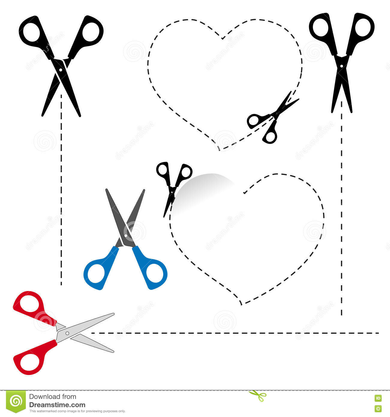 Scissors Cut Out The Shape. The Dotted Line. Stock Vector ...