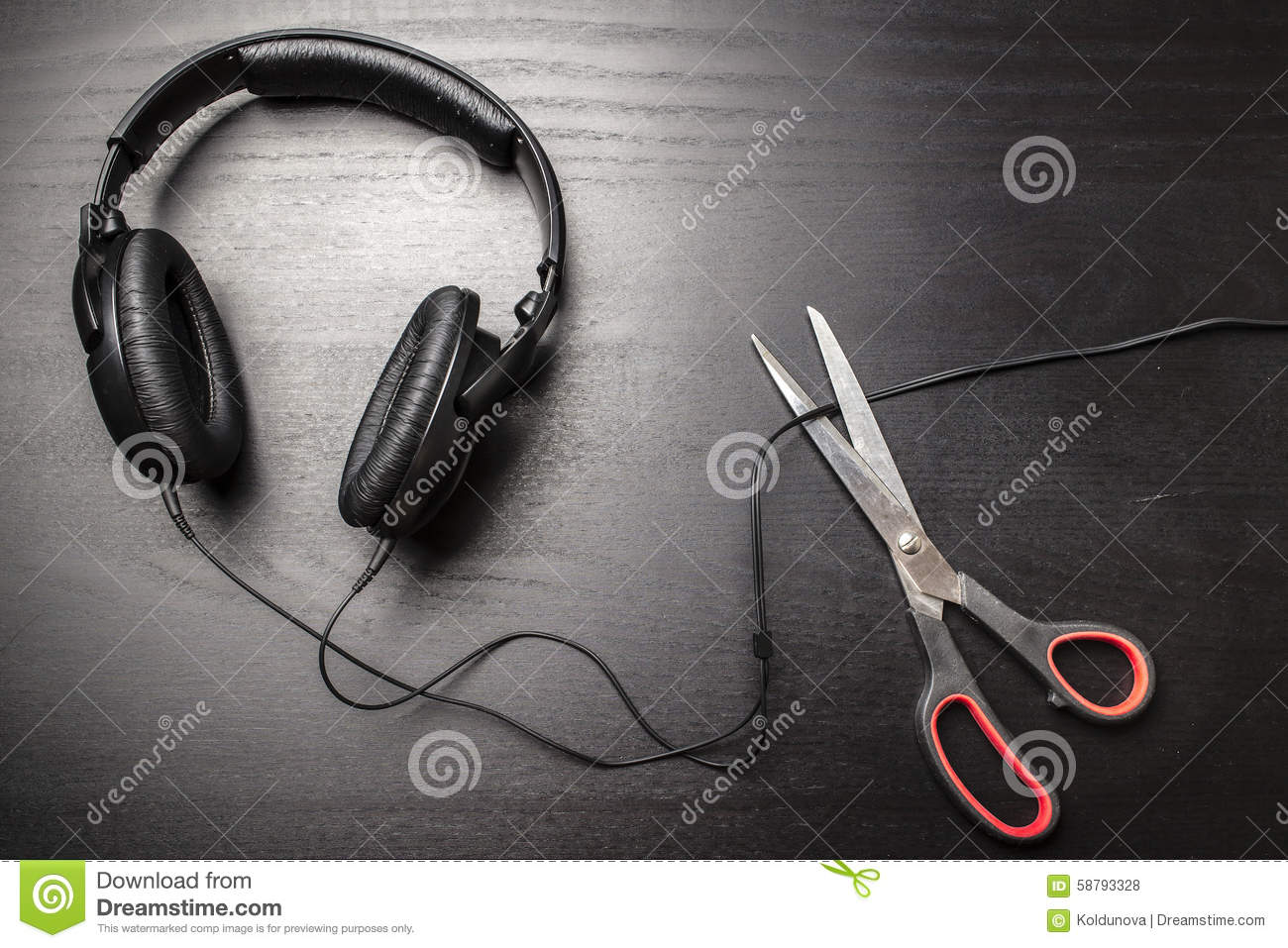 Scissors Cut The Wire From The Headphones, And Thus Stop The Very ...