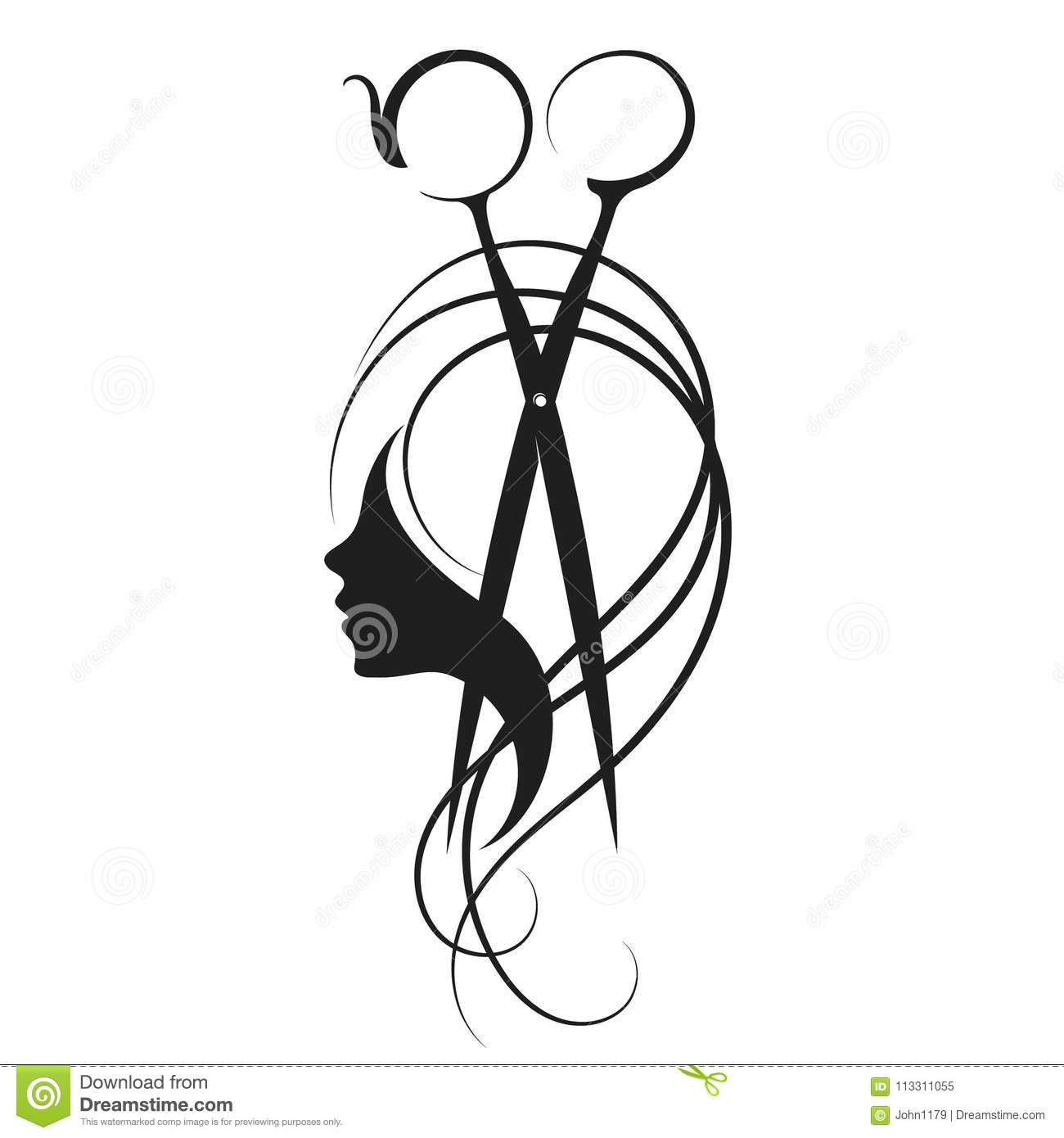 Scissors And Girl Symbol Stock Vector Illustration Of Isolated