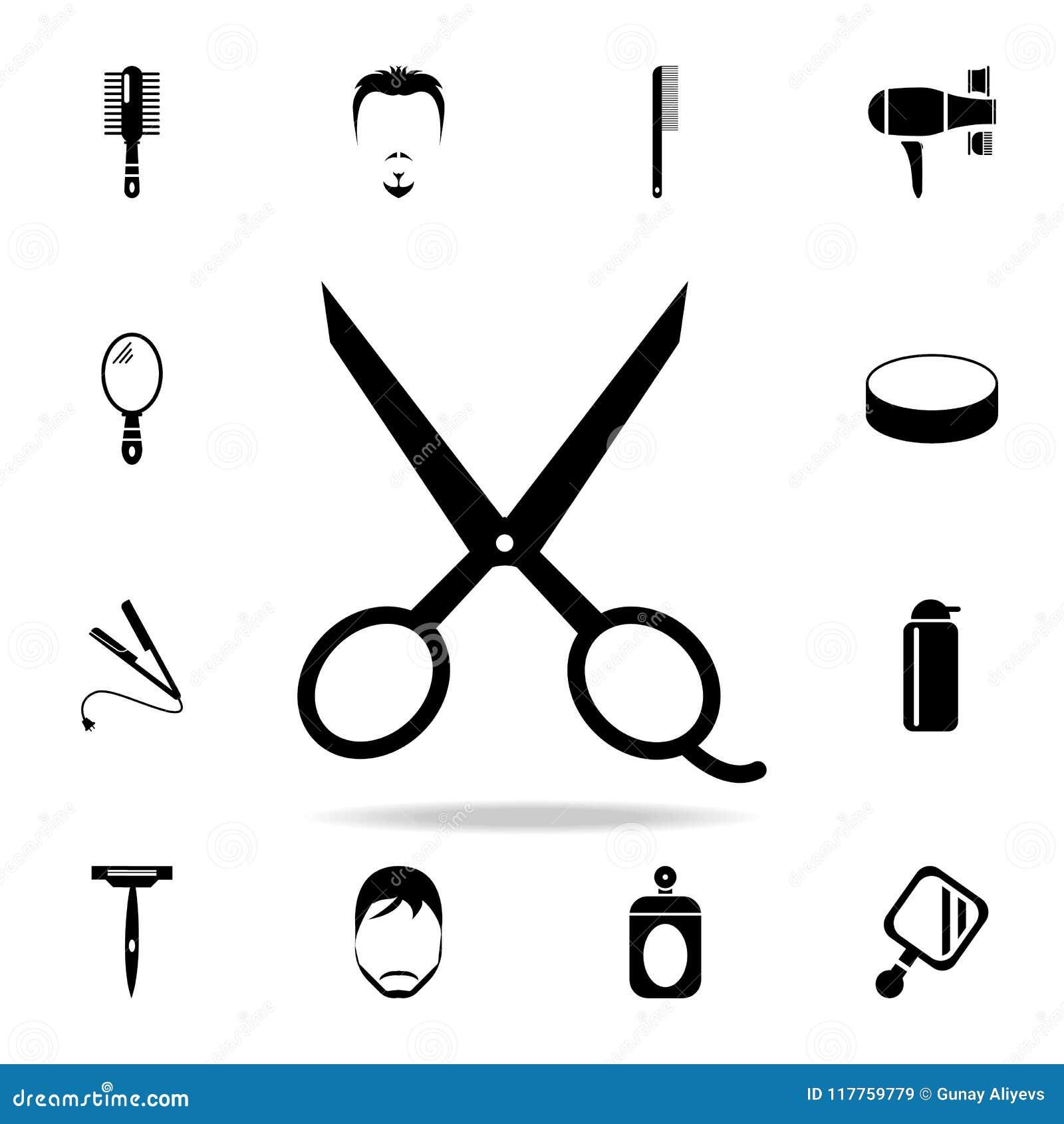 scissors icon detailed set of barber tools premium graphic design