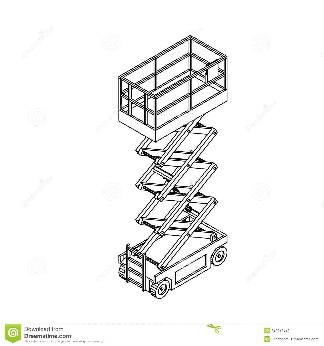 Scissors Lift Platform  Isolated On White Background  Vector Out