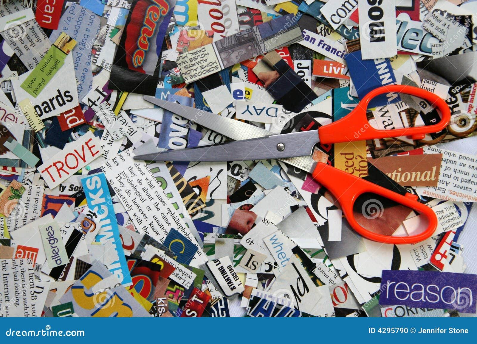 Scissors On Magazine Clipping Background Stock Photo
