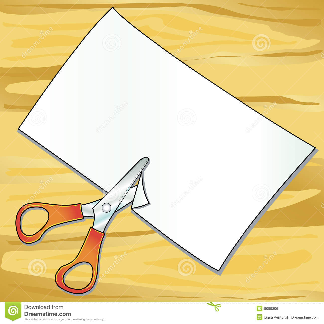... table on which are supported scissors and cut a sheet of paper