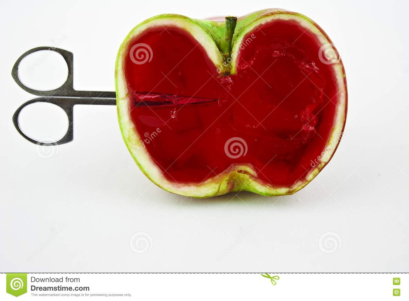 Scissors Penetrate Apple Jelly Royalty Free Stock Photos - Image ...