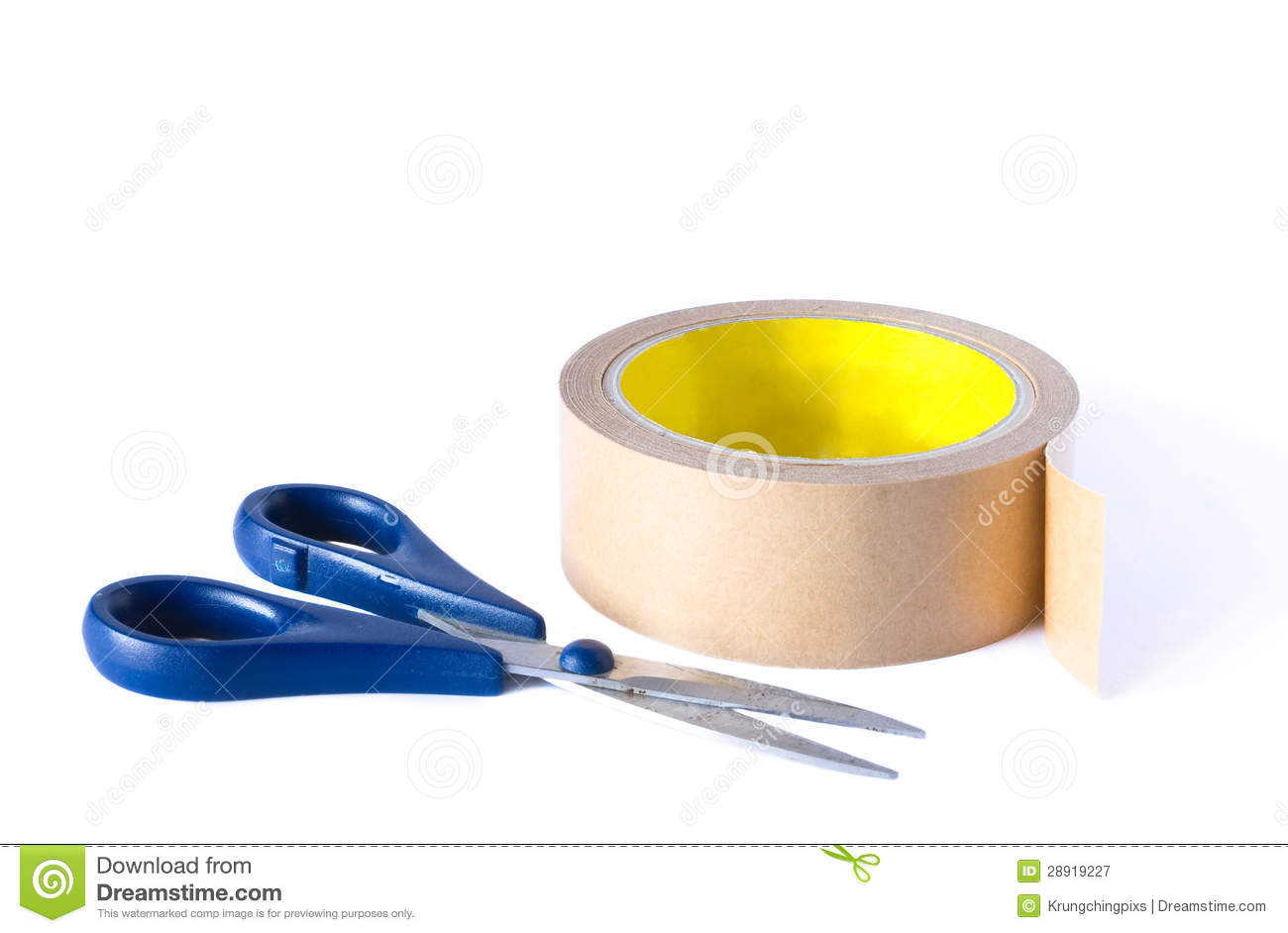 Scissors and a roll tape stock image  Image of tailor - 28919227