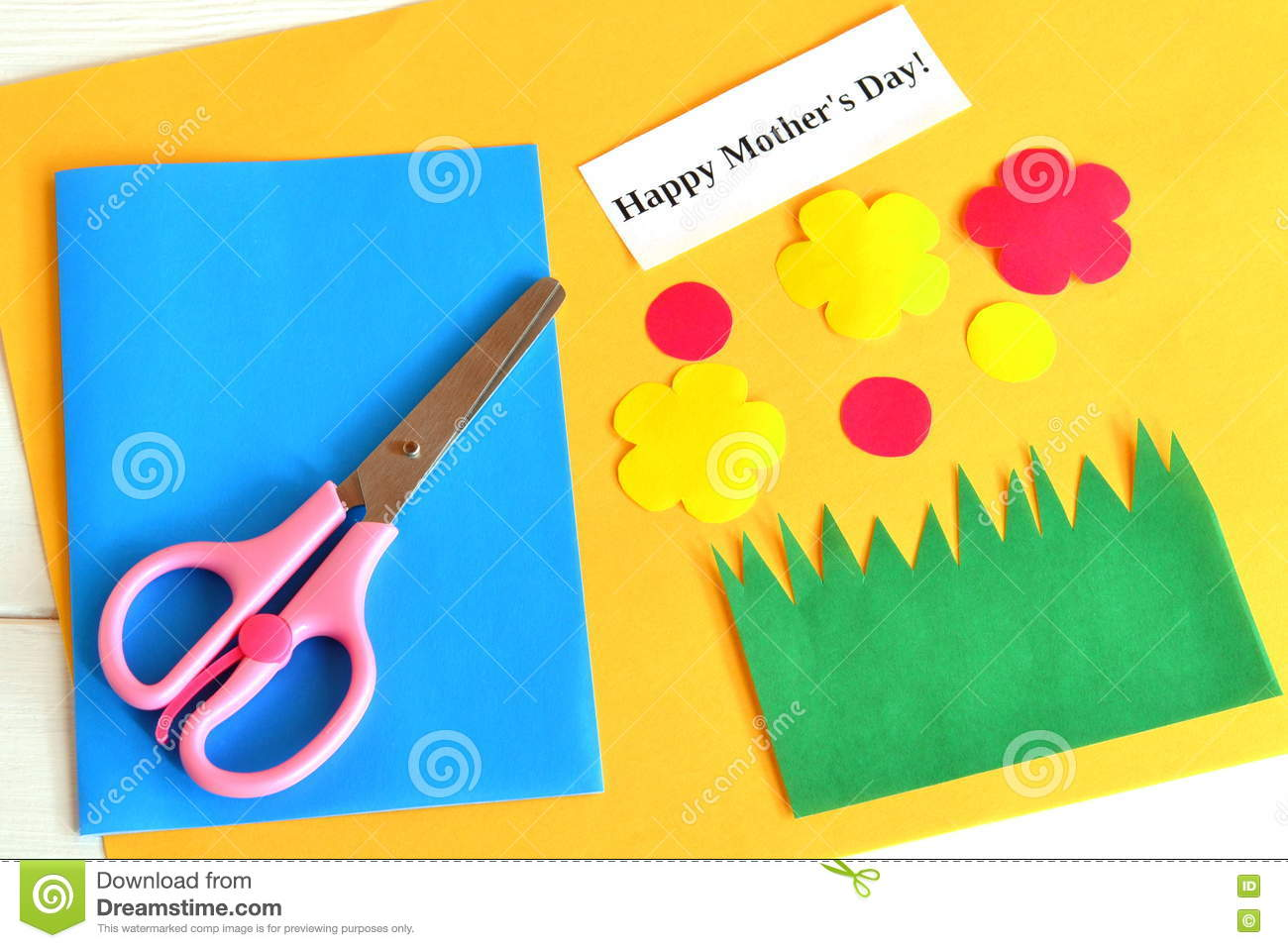 Scissors Set For Card Paper Flowers Words Happy Mothers Day