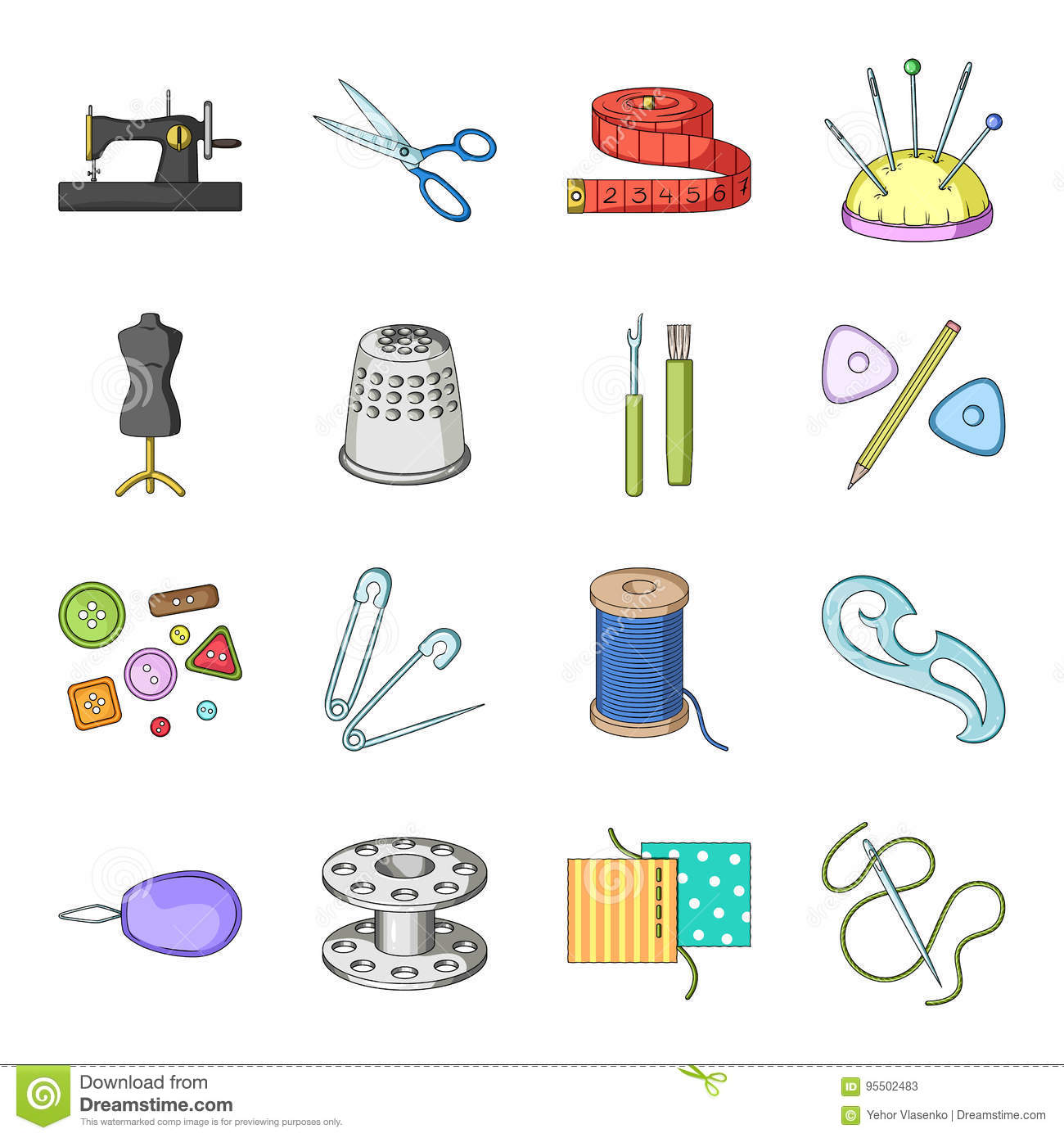 886ab5da17 Scissors, thimble, sewing machine and other items for tailoring.Sewing Or  Tailoring Tools Kit set collection icons in cartoon style vector symbol  stock ...