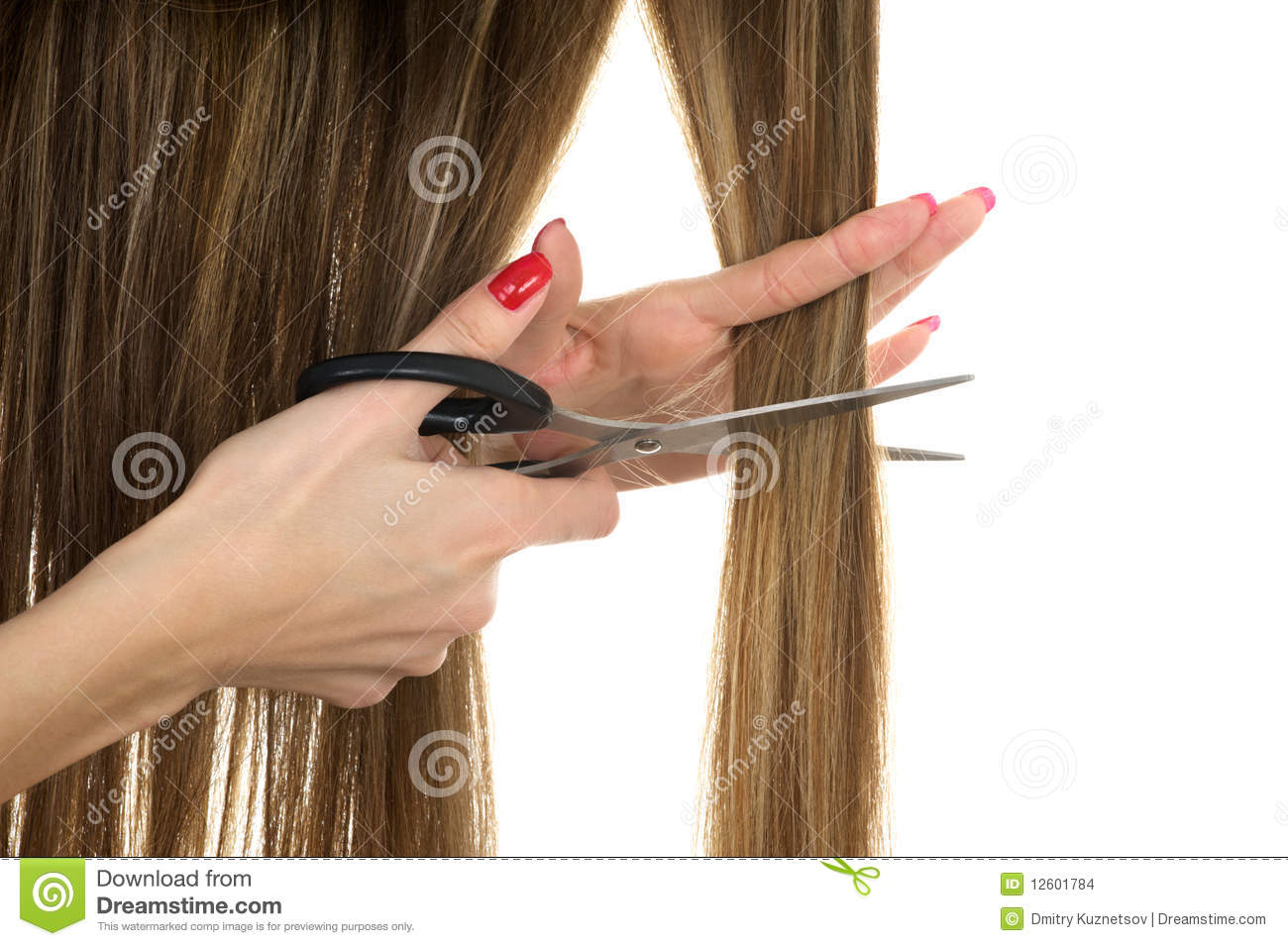 Scissors Trying To Cut Long Hair Stock Photo Image Of