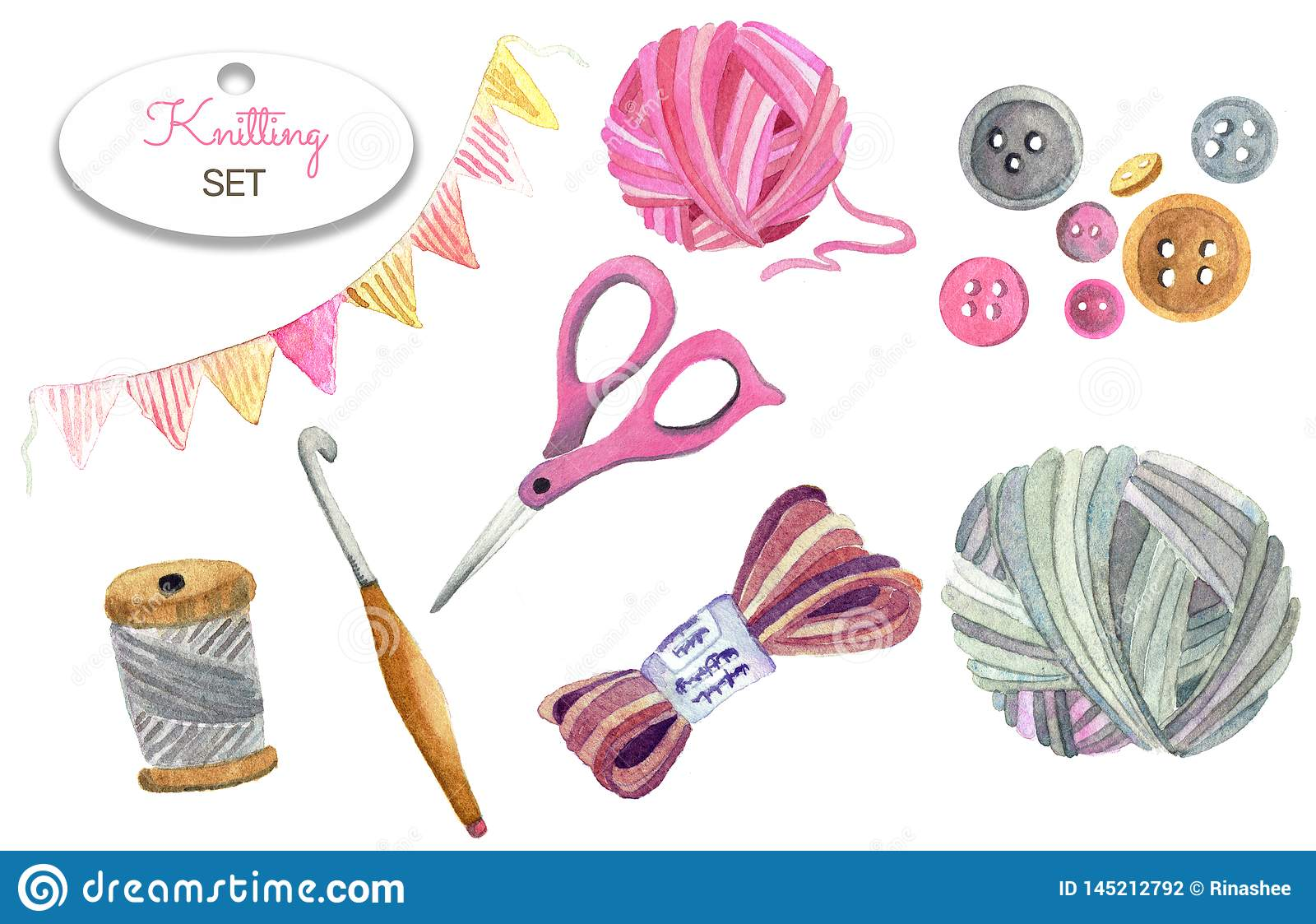 Scissors, yarn, buttons, balls of yarn.