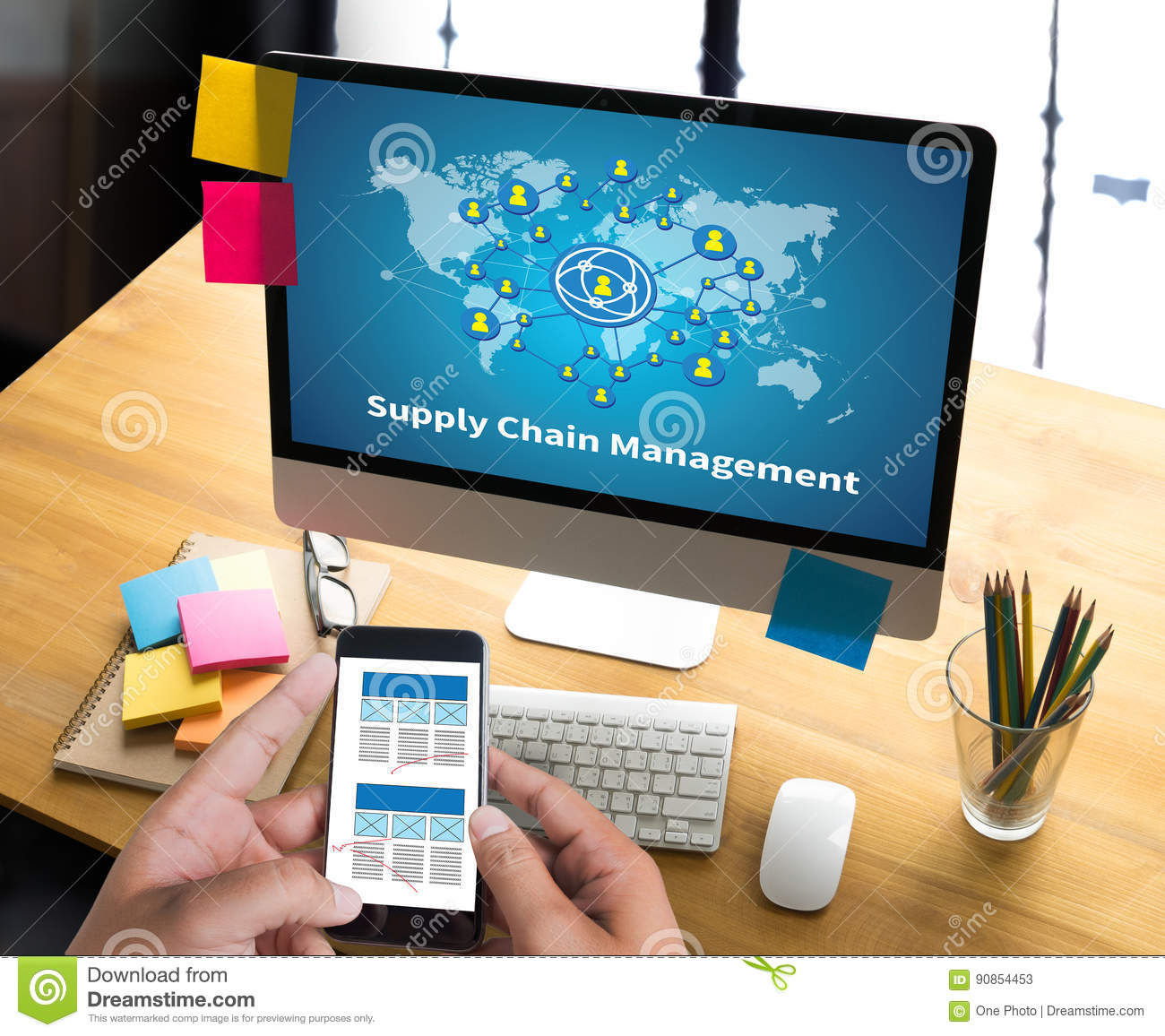 SCM Supply Chain Management concept Modern people doing business