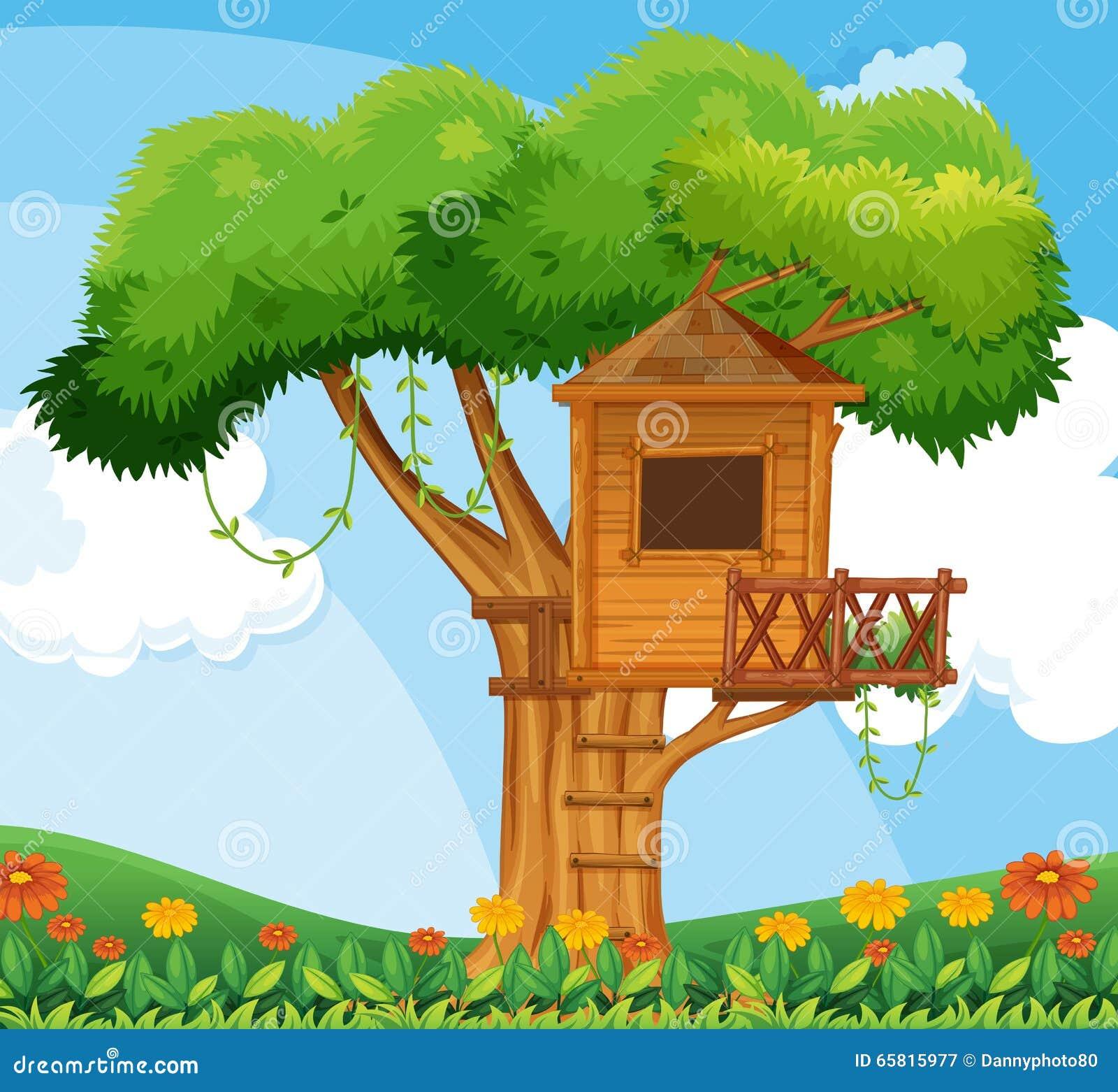 Sc ne de nature avec la cabane dans un arbre dans le for Jardin dans le 78