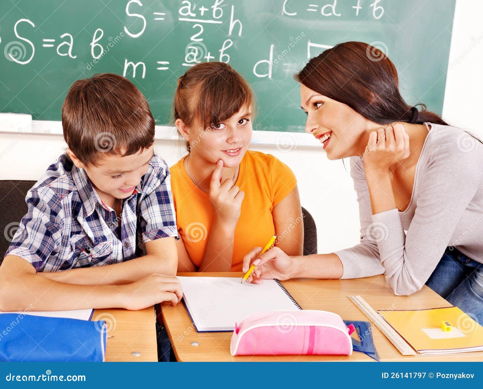 Scolaro con l insegnante.
