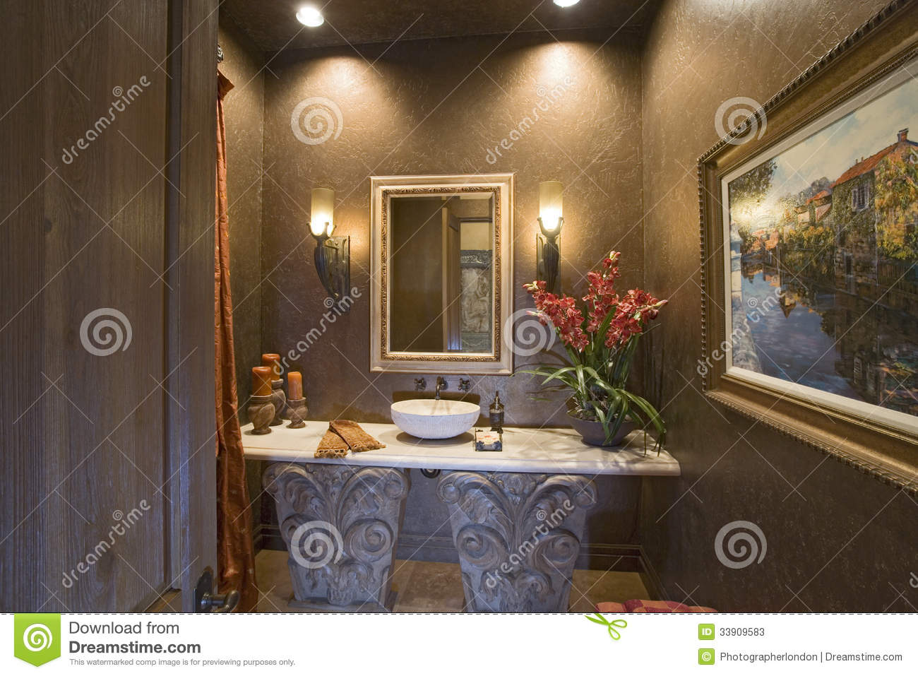 Sconces And Mirror Over Bathroom Sink Stock Photos - Image: 33909583