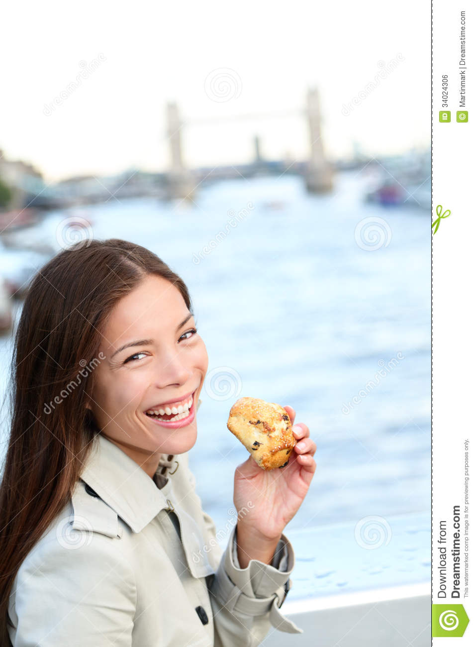 Scones - Woman Eating Scone In London Royalty Free Stock -3554