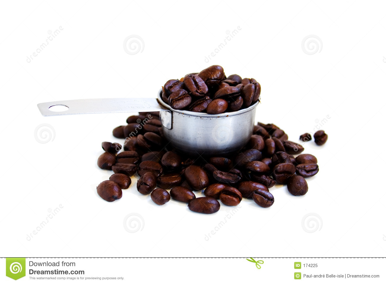 A scoop of coffee beans