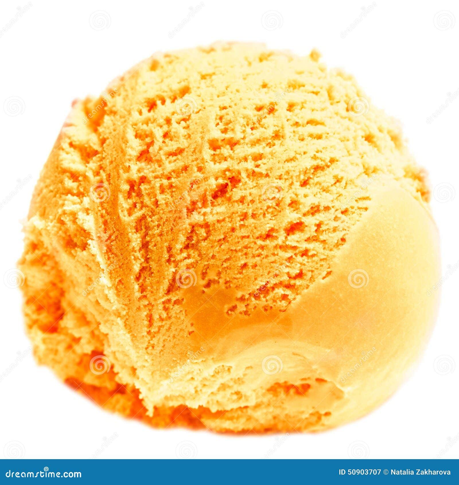 Scoop Of Mango Ice Cream Isolated On White Background Ball