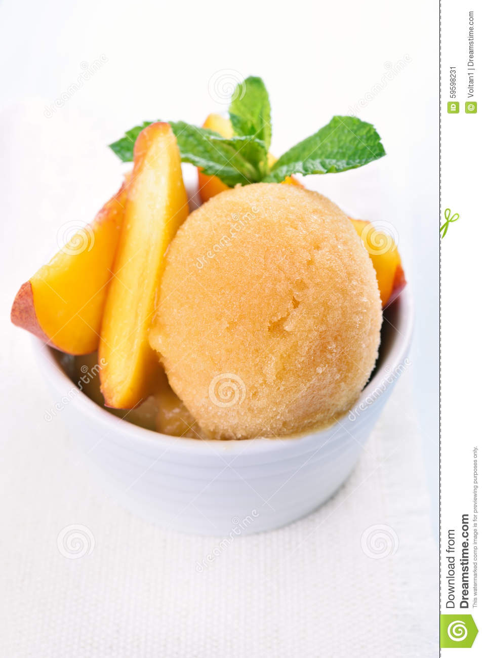 Scoop Of Peach Ice Cream With Mint Stock Image Image Of Healthy Closeup 59598231