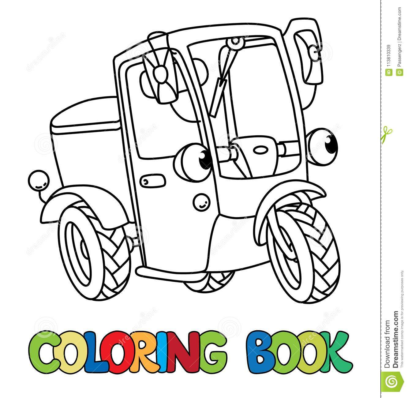 Funny Small Scooter Or Car With Eyes Coloring Book Stock Vector