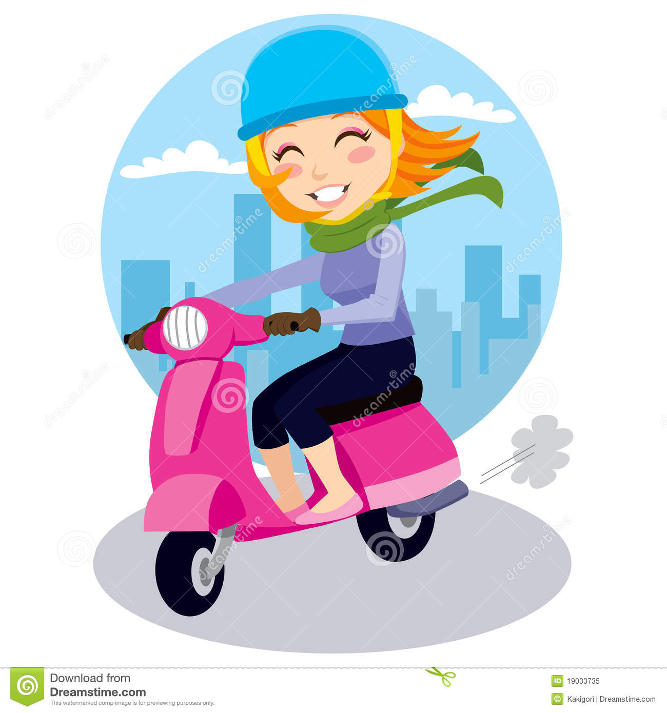 Electric Riding Vehicle >> Scooter Girl stock vector. Image of illustration, single - 19033735