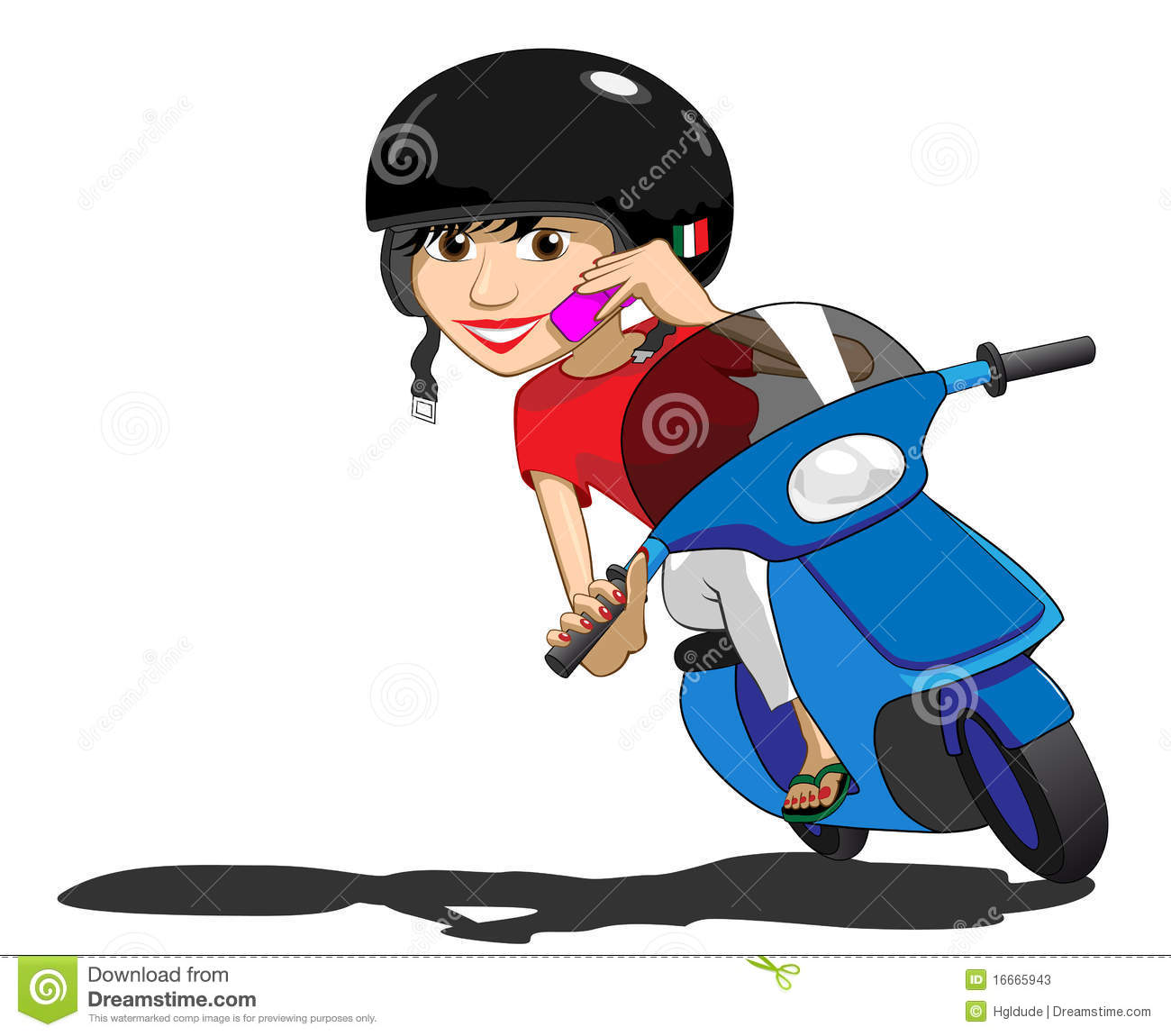 Scooter Girl using phone