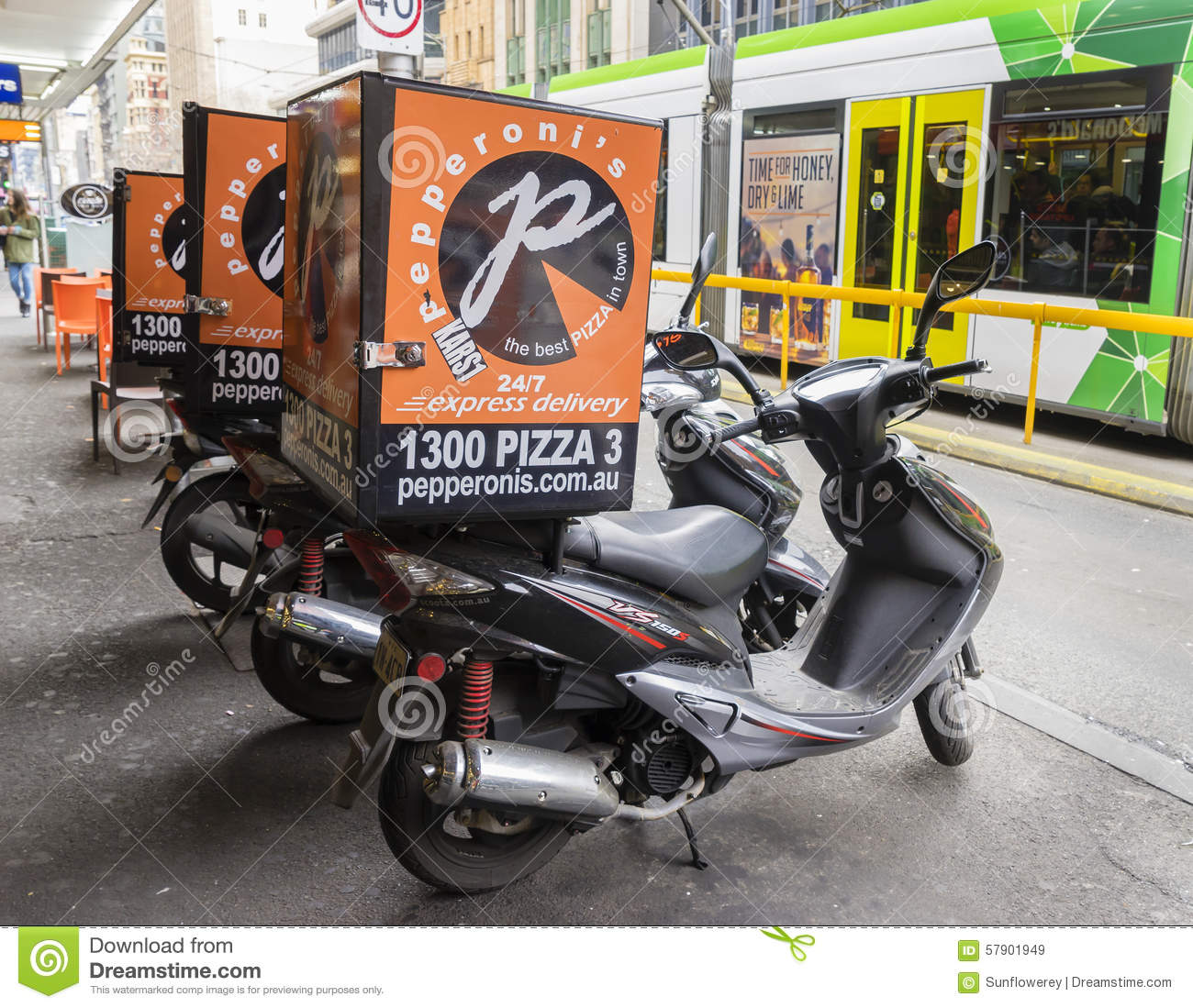 Scooters For Pizza Delivery Parked Outside A Pizza Shop In Melbourne
