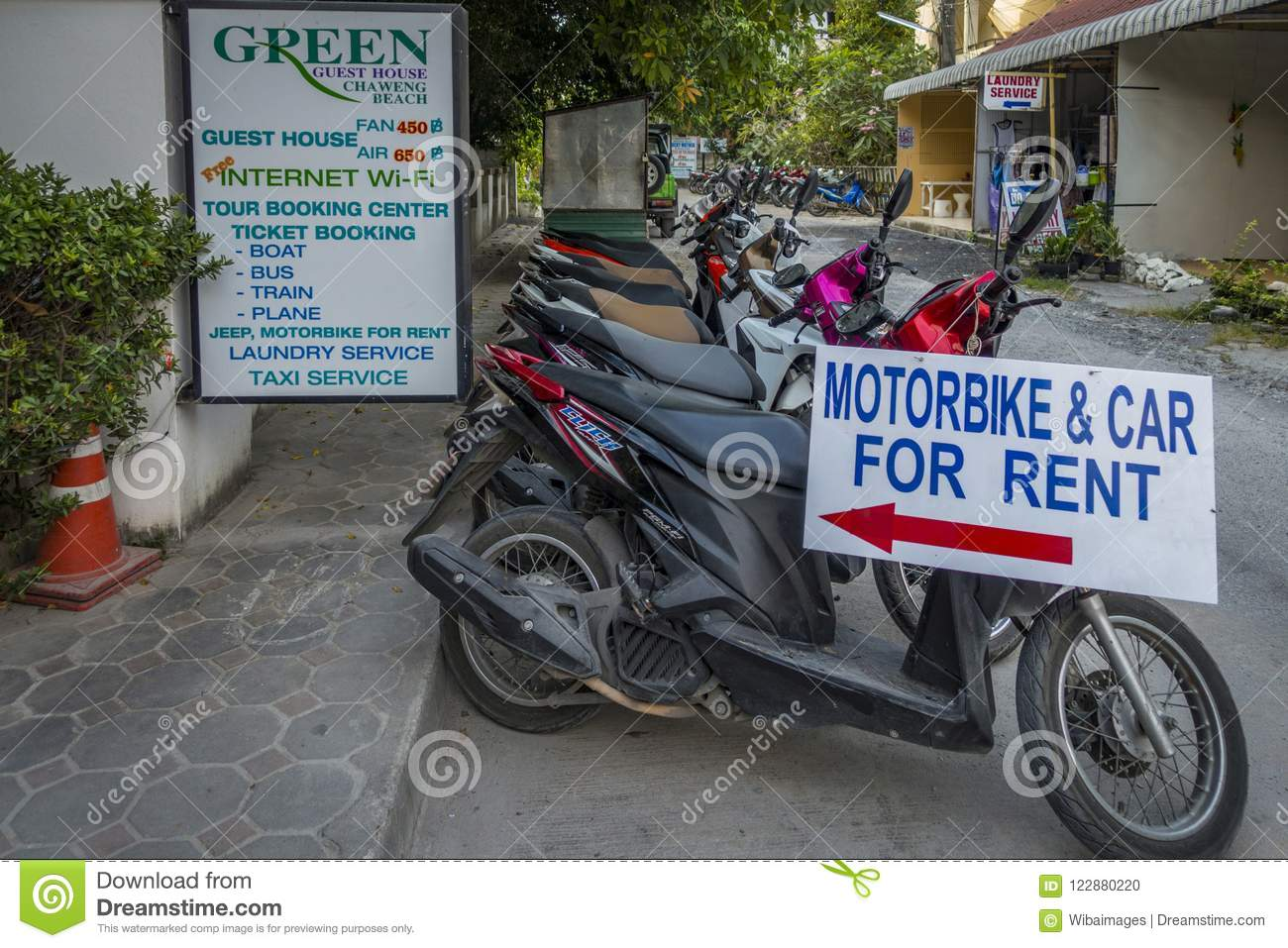 Scooters For Rent, Koh Samui Editorial Image - Image of