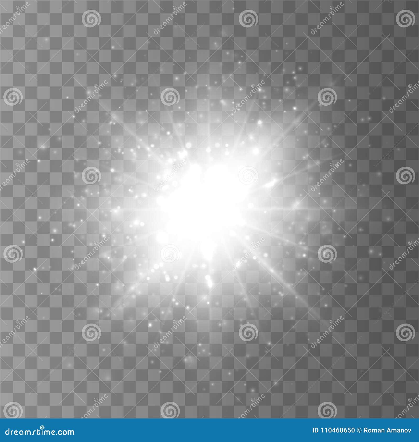 Scoppio della stella con polvere e la scintilla isolate Effetto della luce di incandescenza