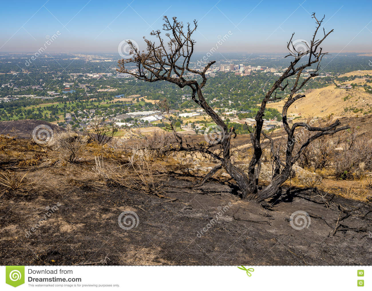 Scorched ground from a fire and city of Boise Idaho
