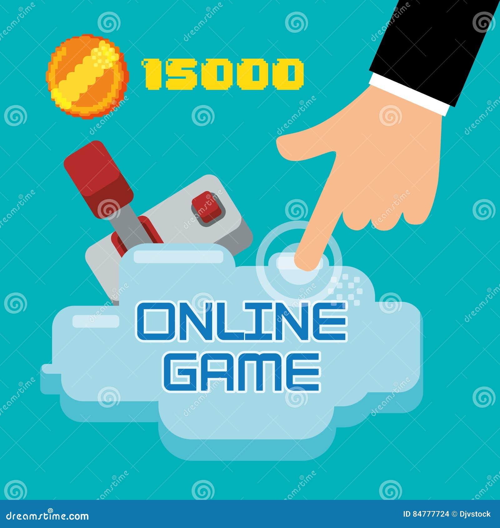 Score de pièce de monnaie de manette de contact de main de jeu sur Internet