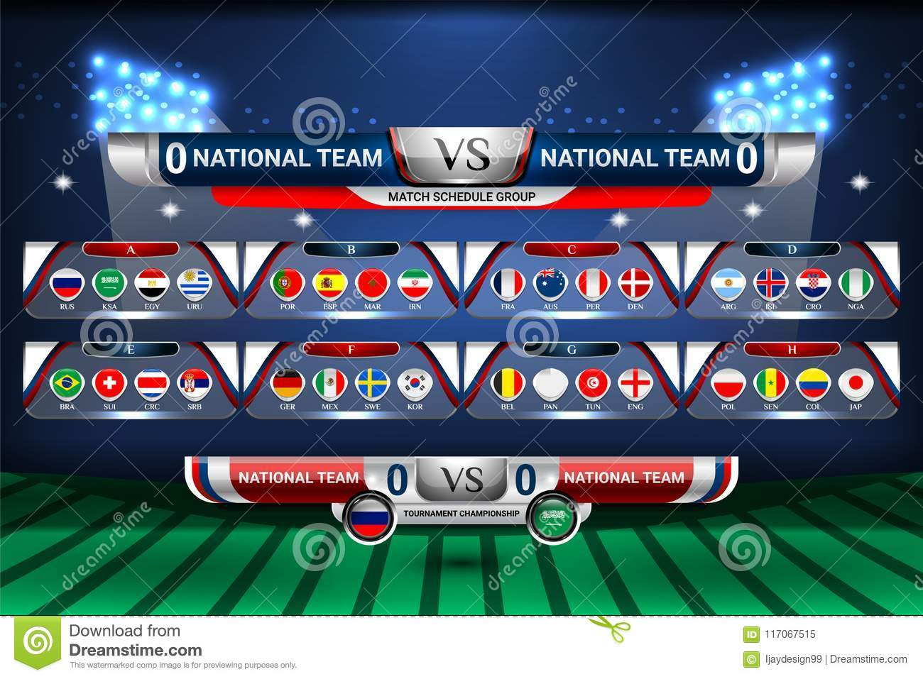 Scoreboard Broadcast And Lower Thirds Template For World Soccer Tournament Championship