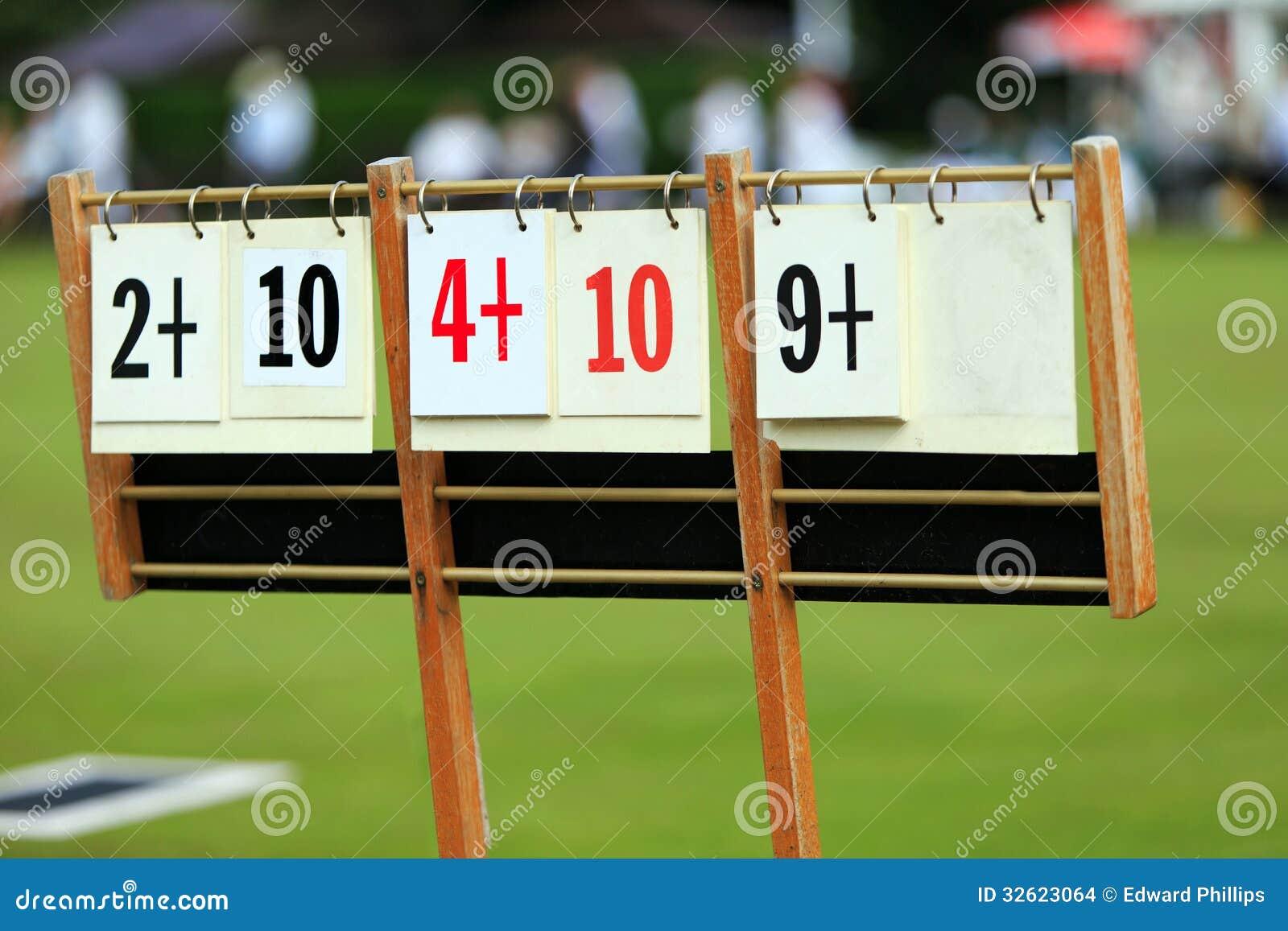 Scoreboard At A Lawn Bowls Match Stock Photo Image Of