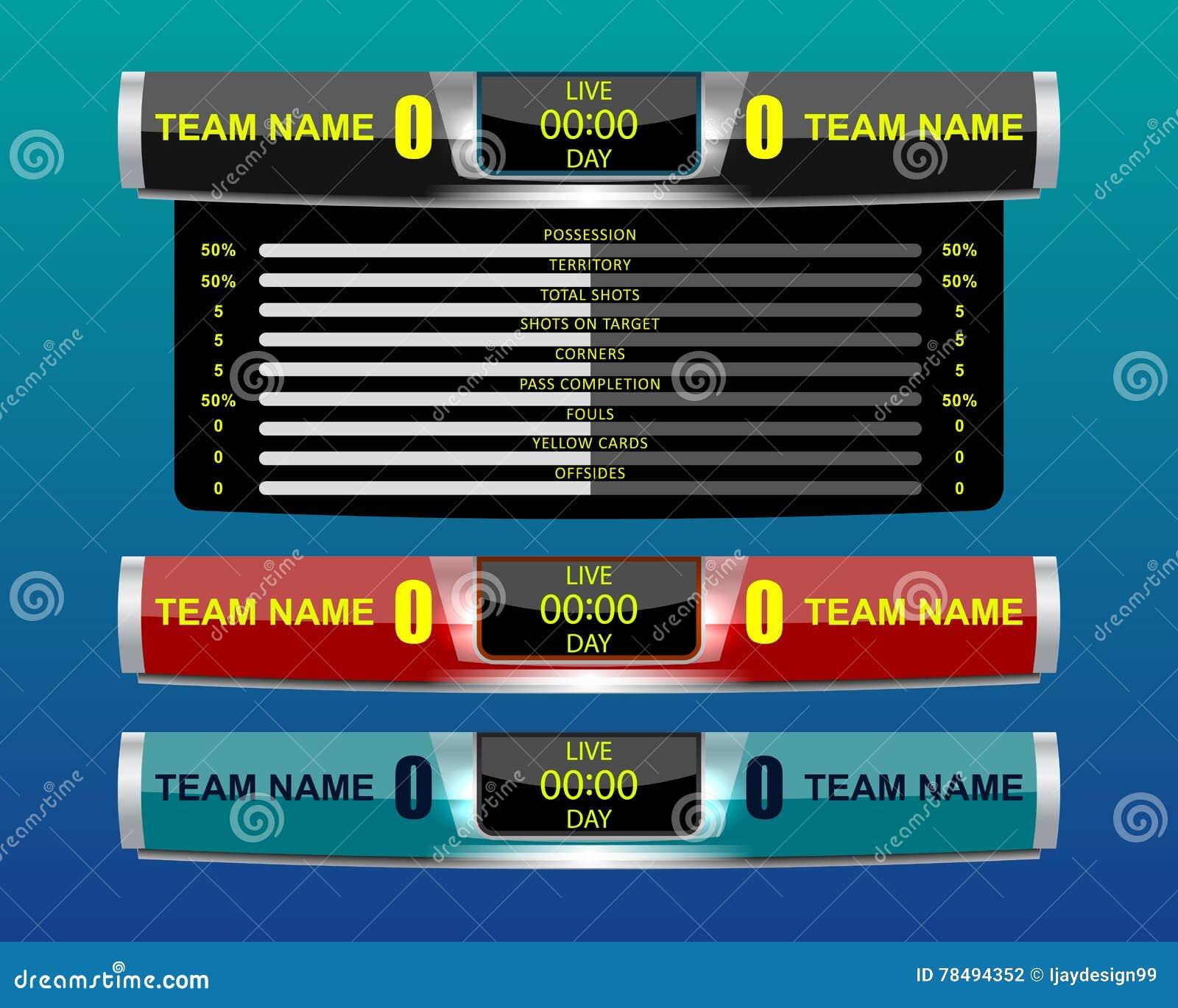 Sport Scoreboard Template Vector Image 66895767 – Scoreboard Template