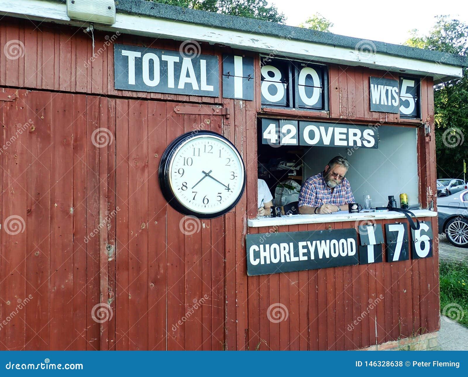 Scoring shed at Saturday match at Chorleywood Cricket Club, Chorleywood, Hertfordshire, England, United Kingdom