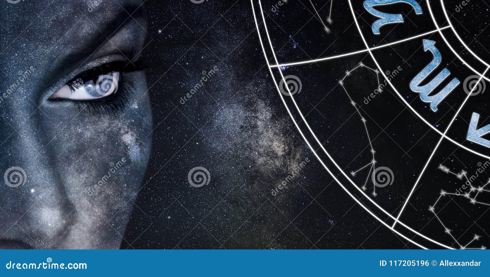 Scorpio Horoscope Sign. Astrology women night sky background