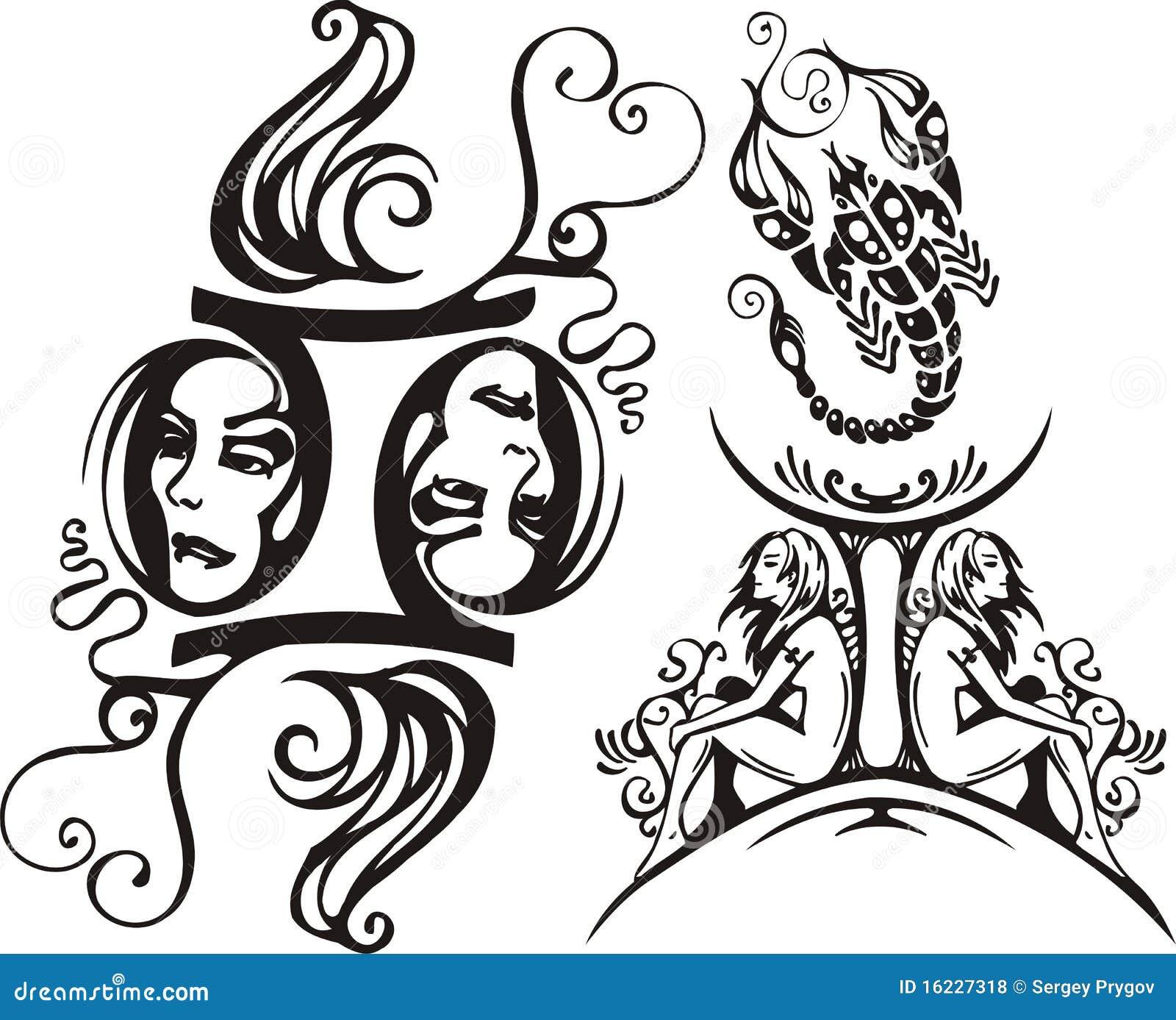 Scorpione e gemelli illustrazione vettoriale - Scorpione e gemelli a letto ...