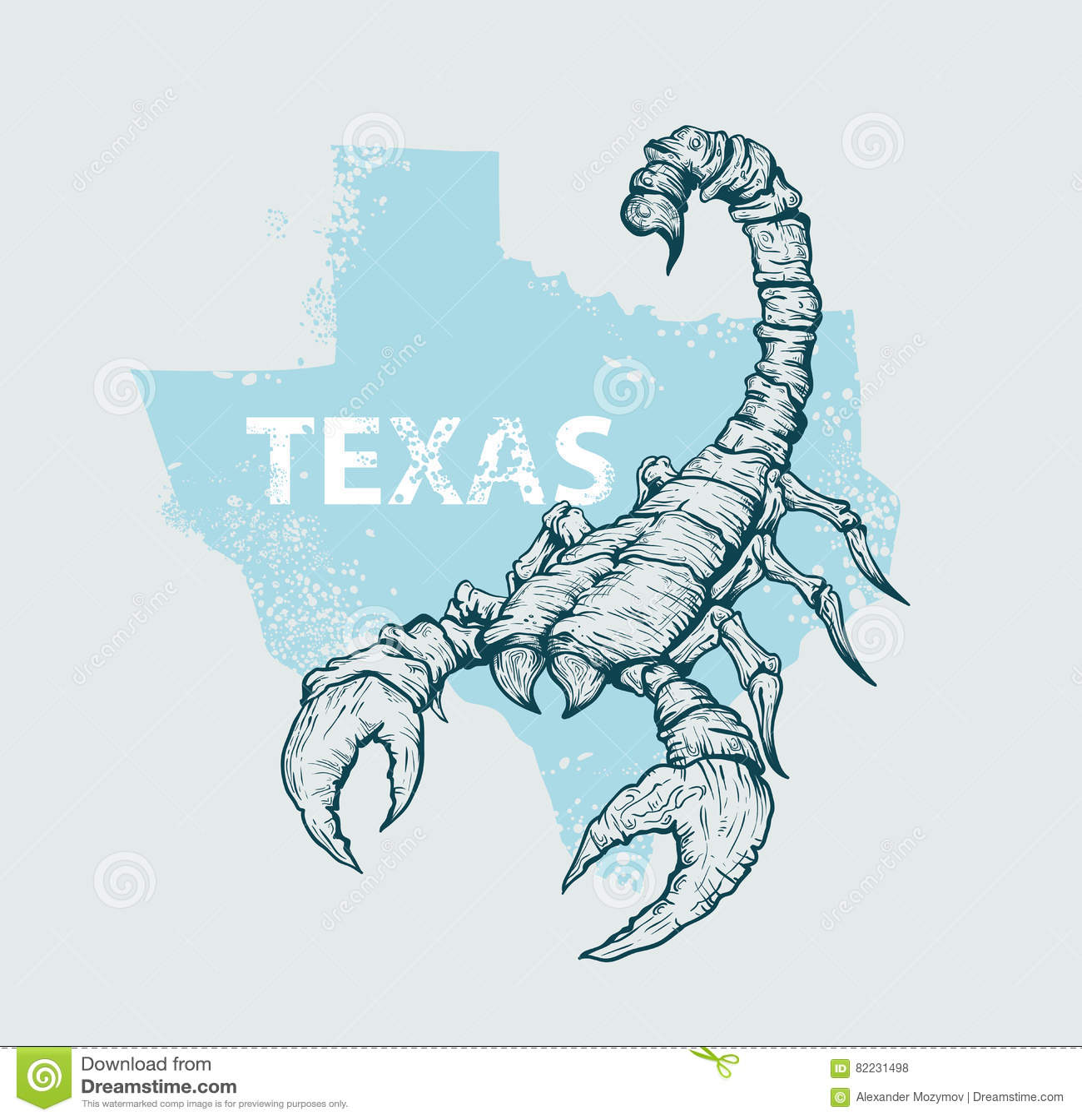 Scorpione su una mappa del fondo del Texas