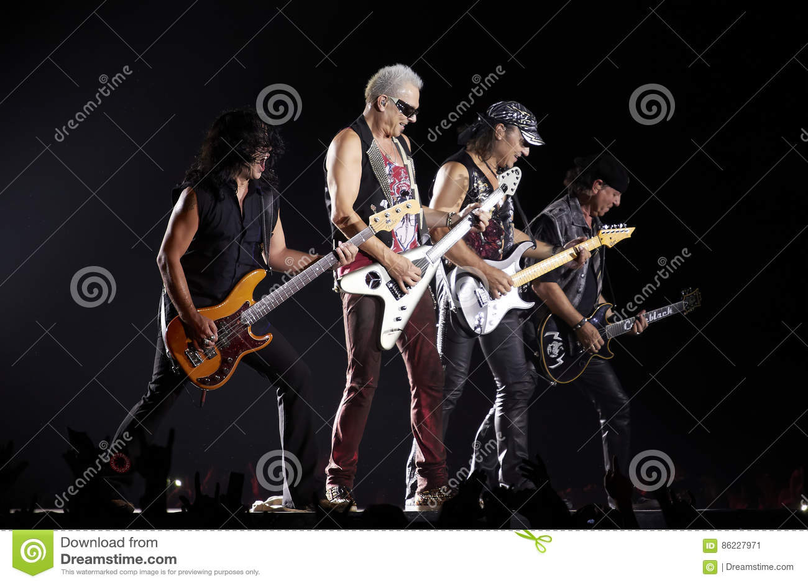 Scorpions Band Performing Live At Stadium Editorial Photo
