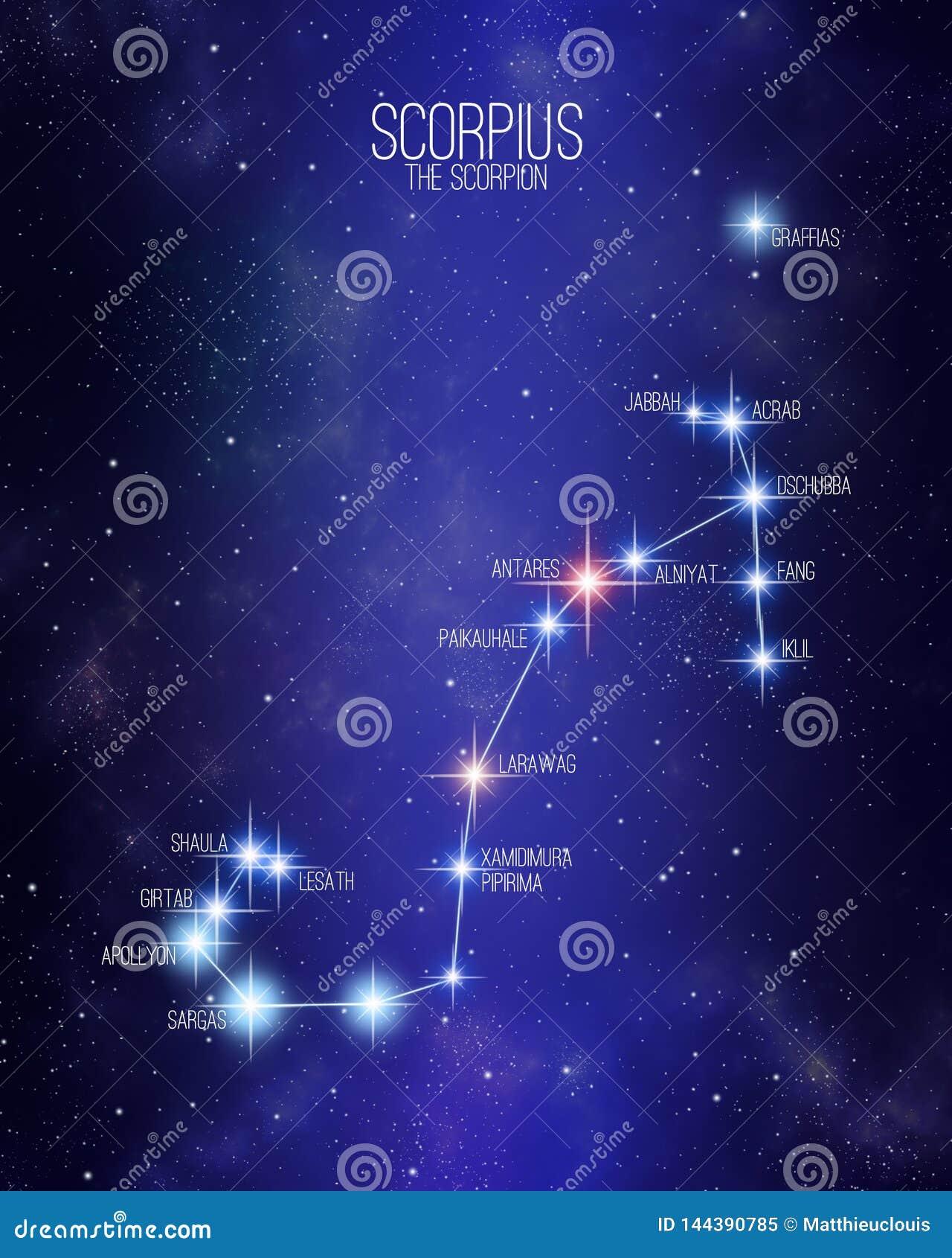 Scorpius o mapa da constelação do zodíaco do escorpião em um fundo estrelado do espaço com os nomes de suas estrelas principais T