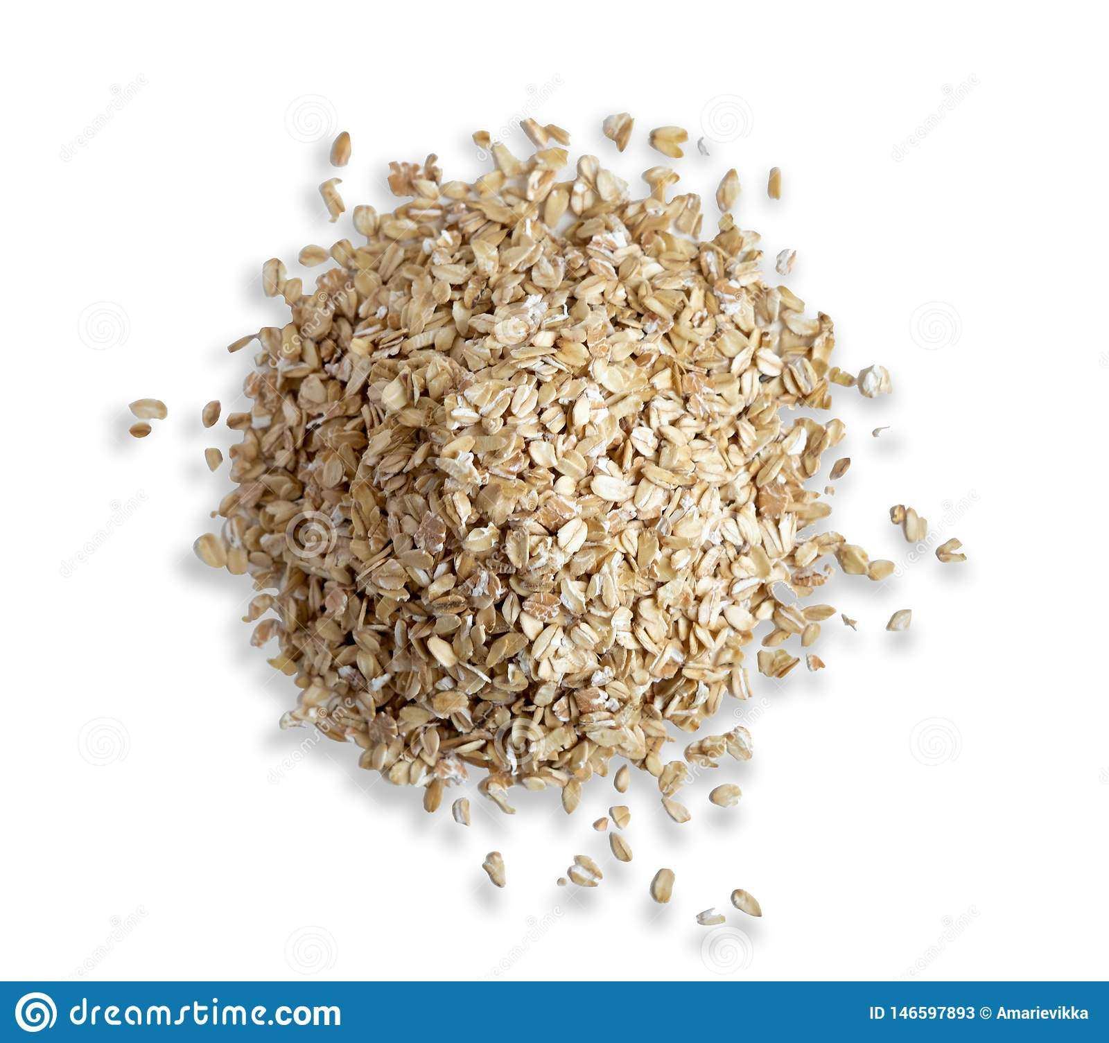 Scorrevole della farina d avena isolato su fondo bianco Vista della farina d avena della foto dalla cima Prima colazione sana