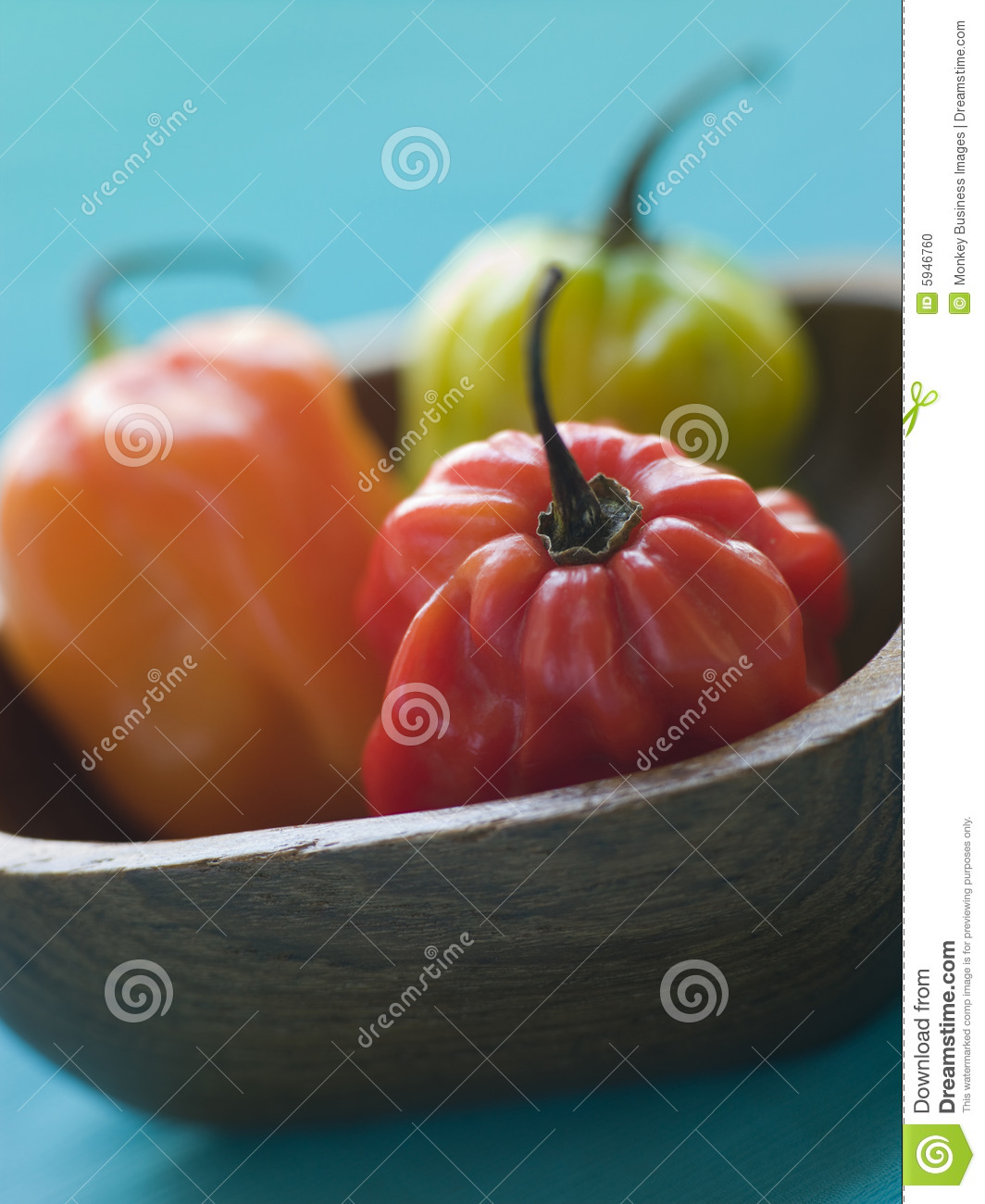 Scotch Bonnet Chilies In a Wooden Dish