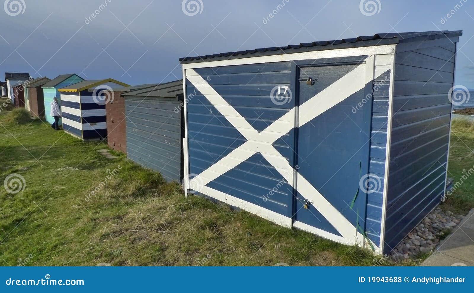 Scotland flag on beach hut
