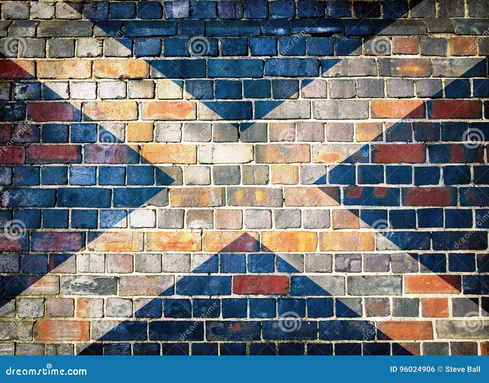 Scotland flag on a brick wall background