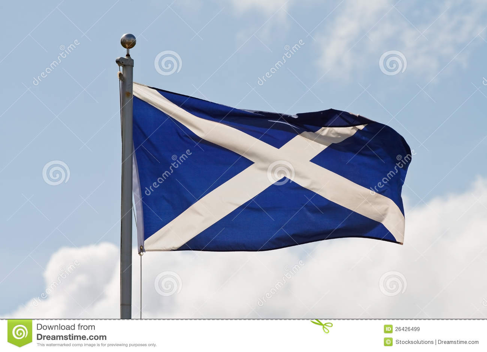 Scotland flag on flagpole