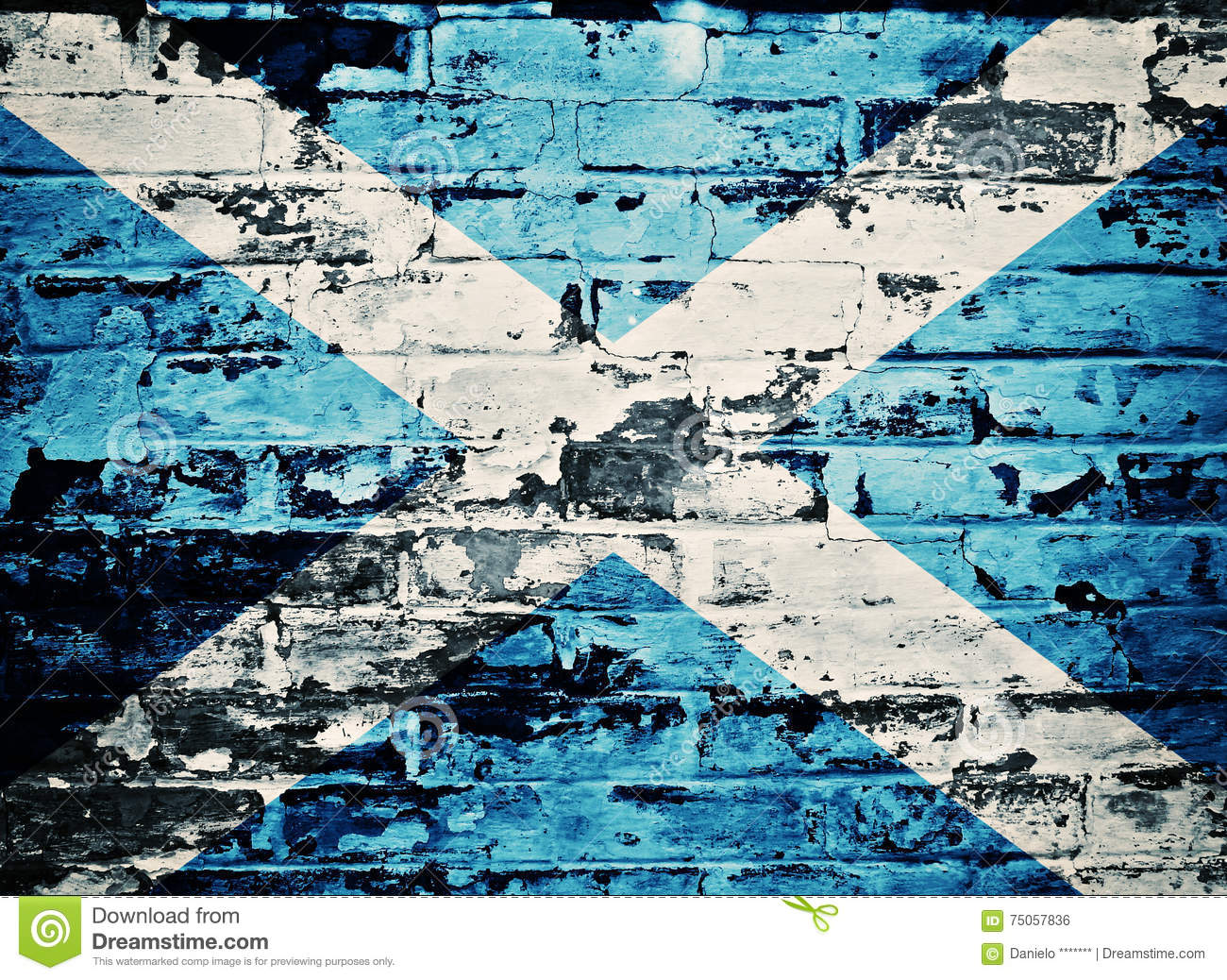 Scotland flag painted on old brick wall