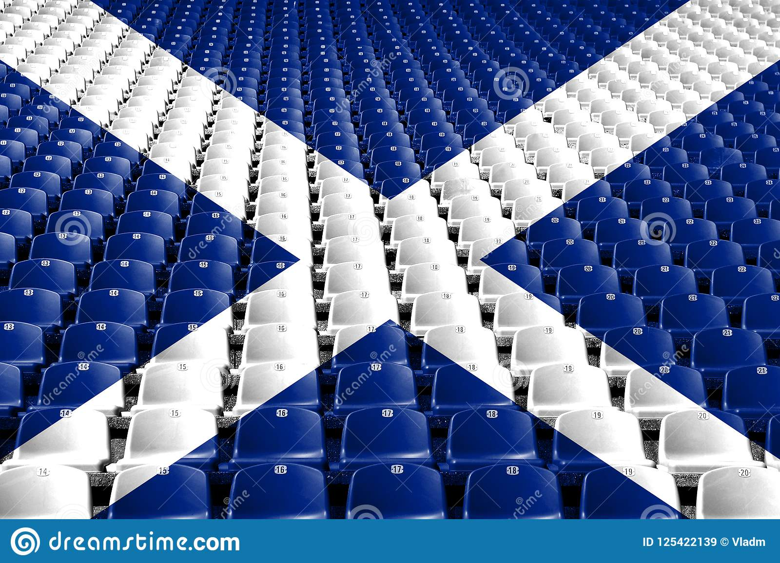 Scotland flag stadium seats. Sports competition concept.