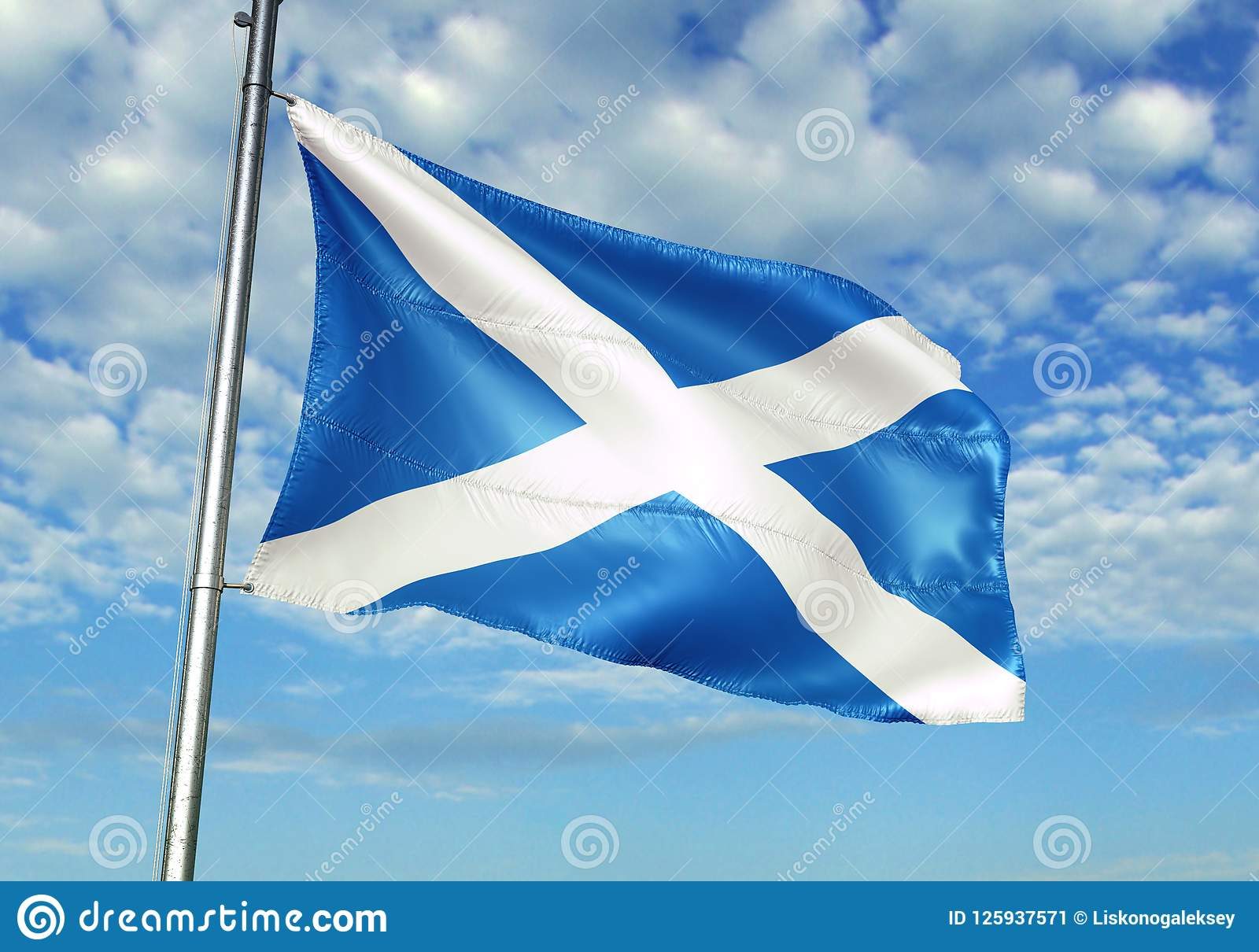 Scotland flag waving with sky on background realistic 3d illustration