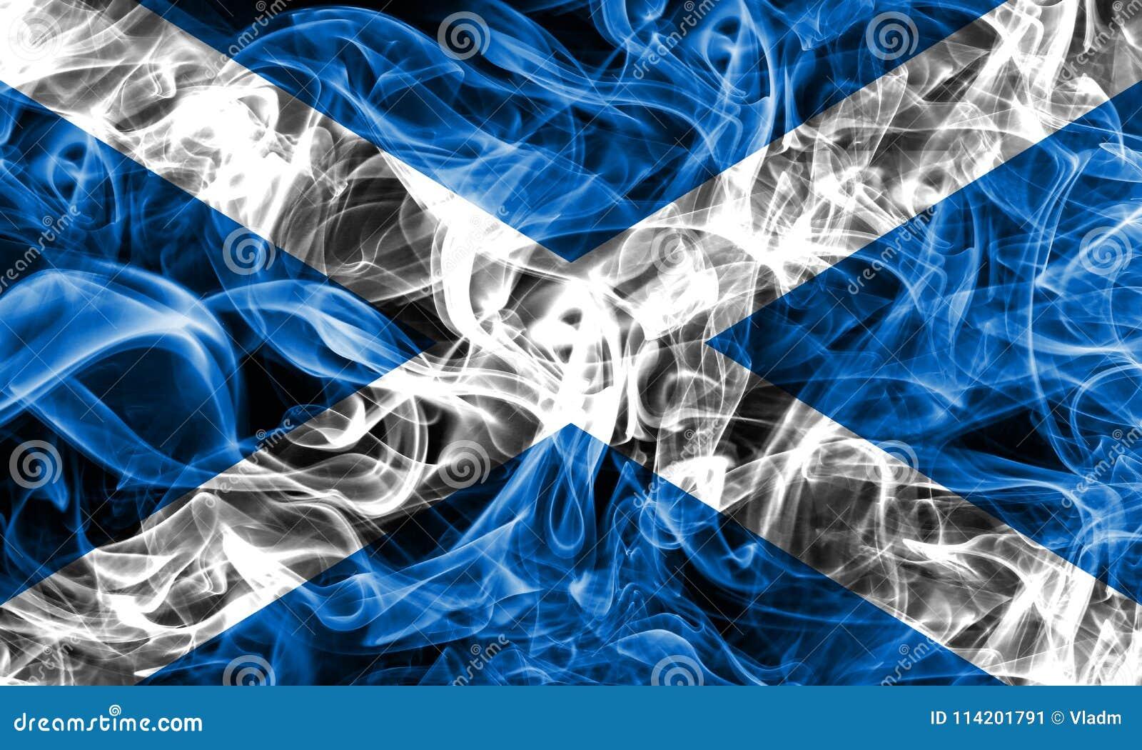 Scotland smoke flag on a black background